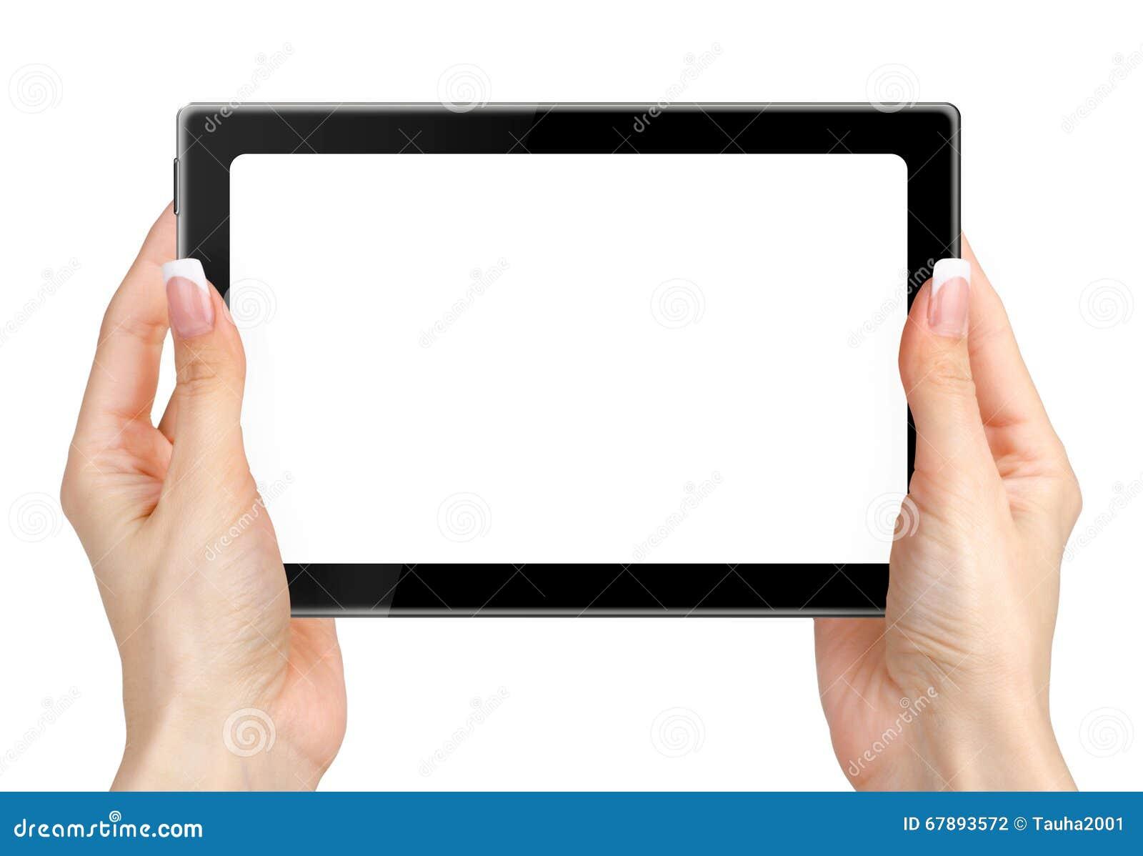 举行和接触在片剂个人计算机的女性手隔绝在白色
