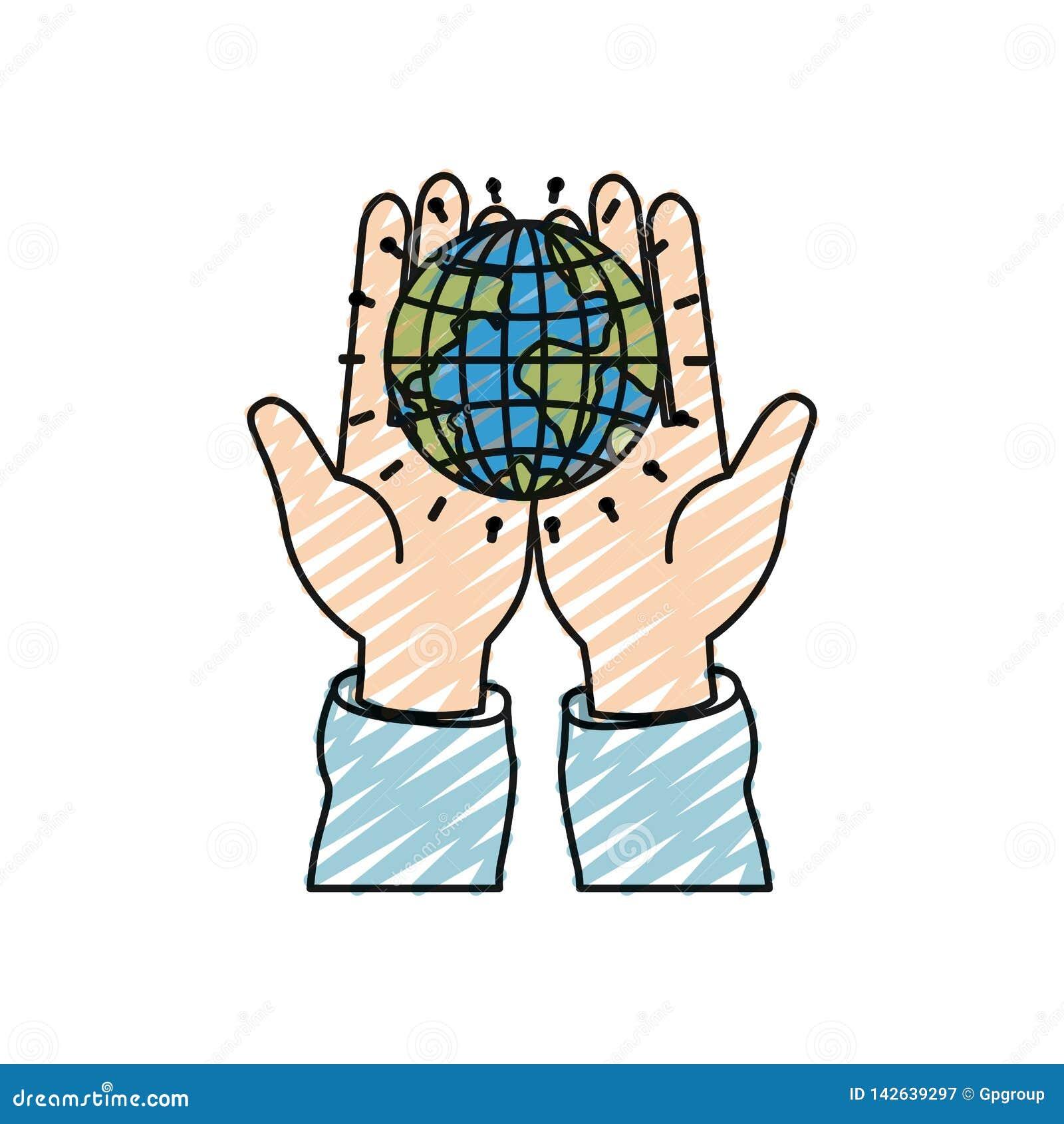 举行在棕榈地球地球世界慈善标志的手颜色蜡笔剪影正面图