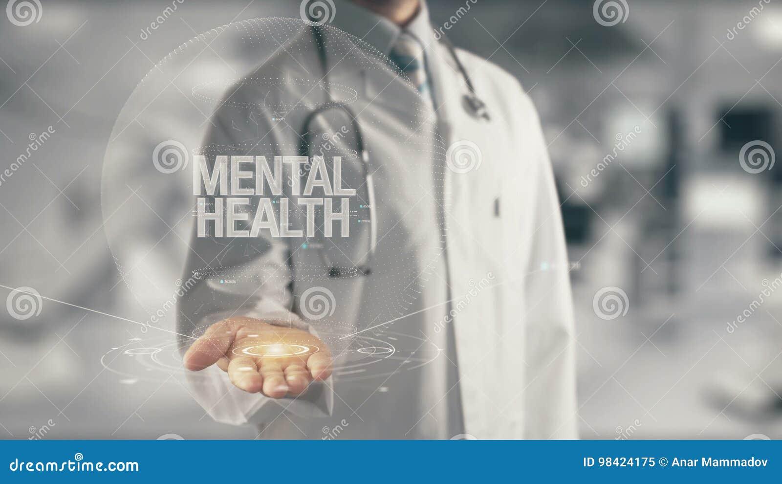 举行手中精神健康的医生