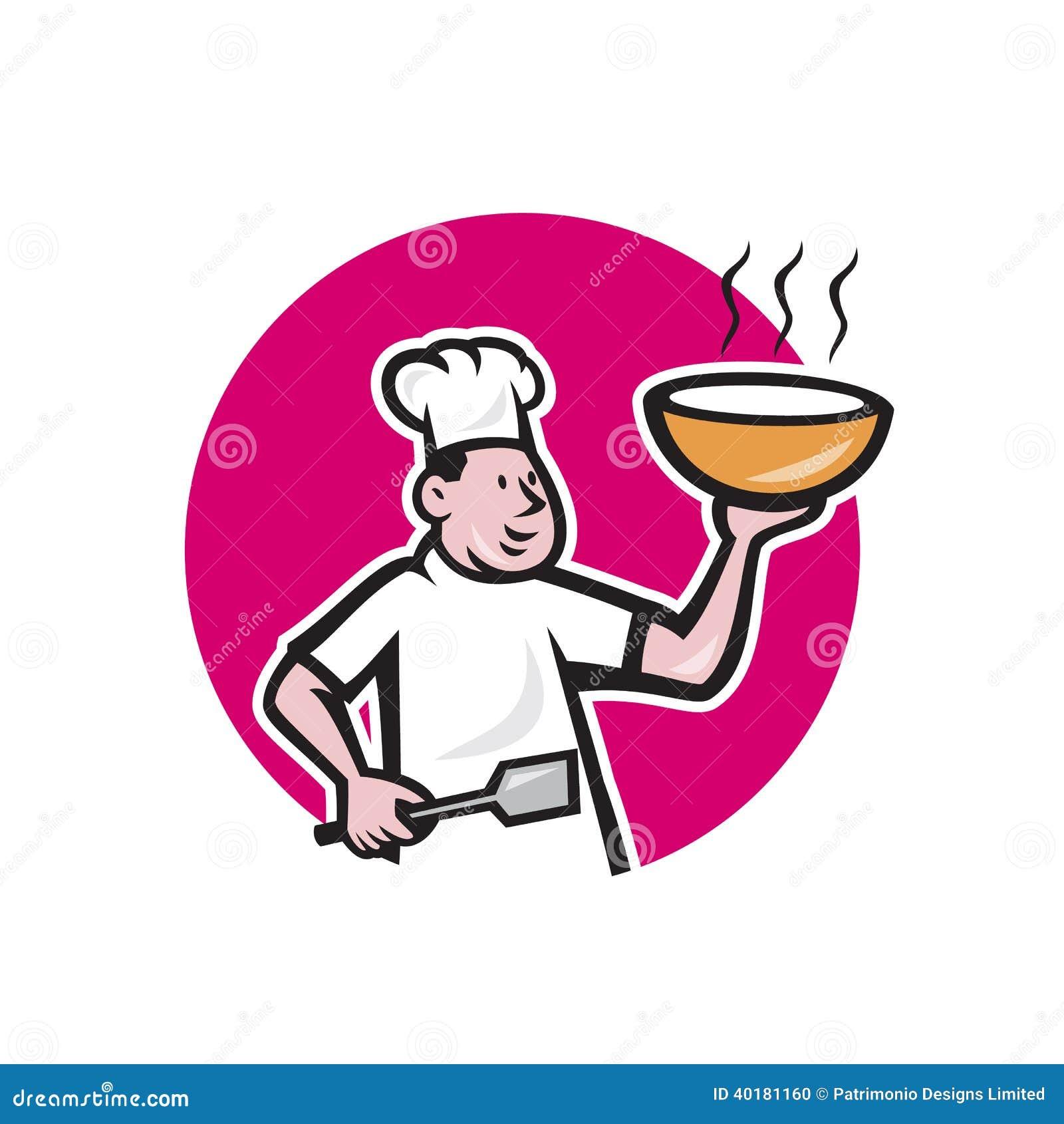拿着热的碗汤面的厨师厨师的例证看从在被隔绝的白色背景的动画片