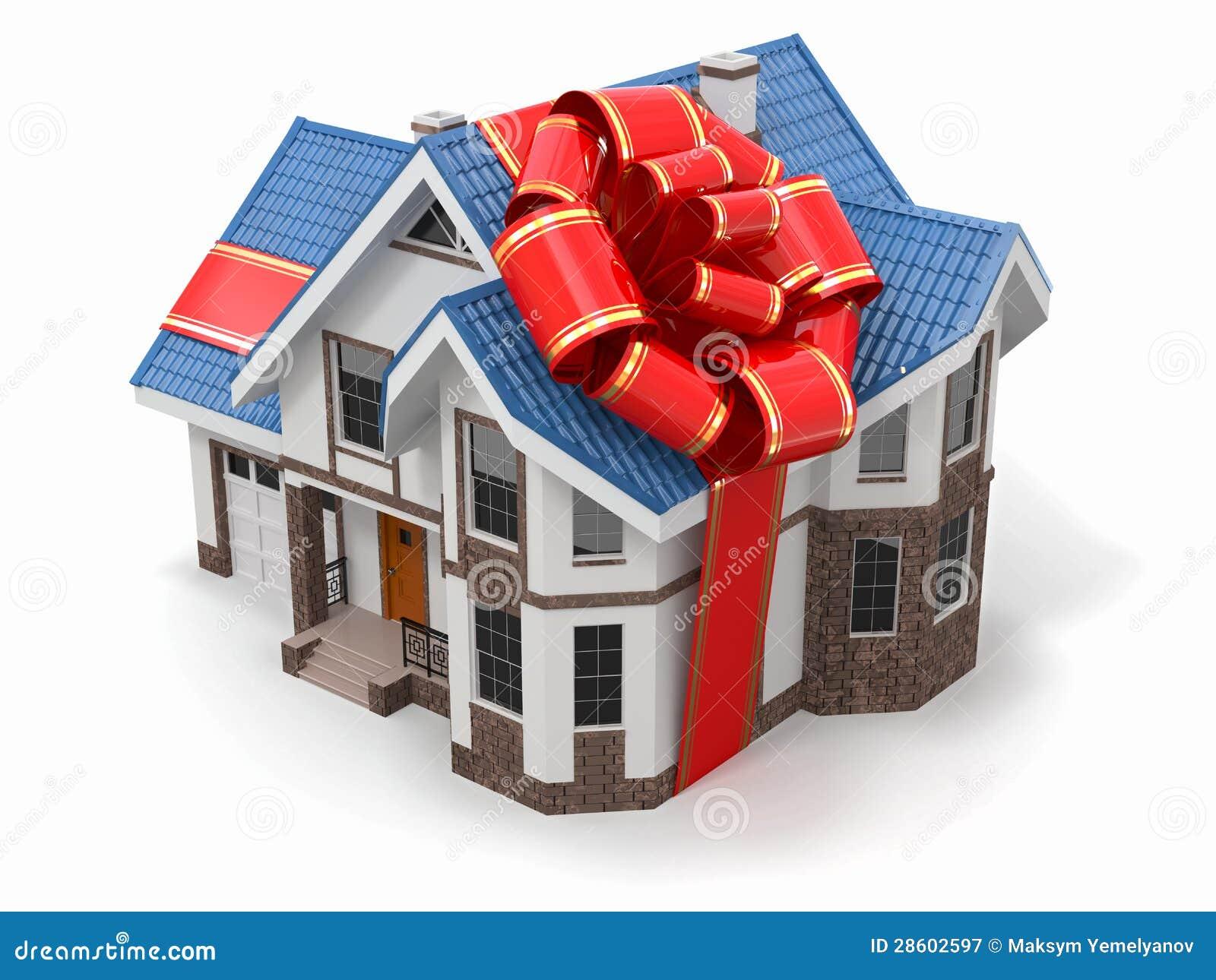 之家礼品。 与丝带和弓的豪宅