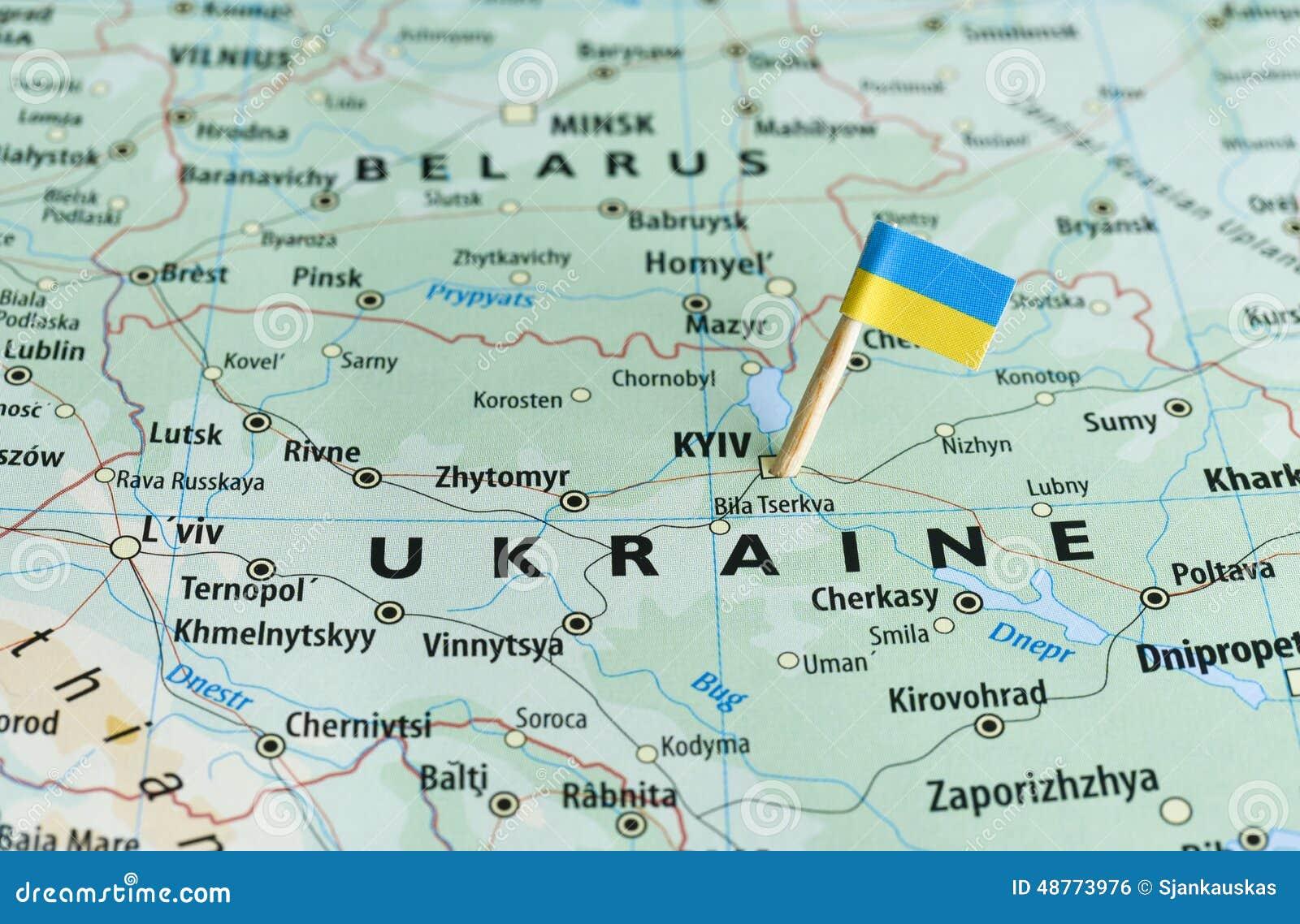 乌克兰地图旗子别针