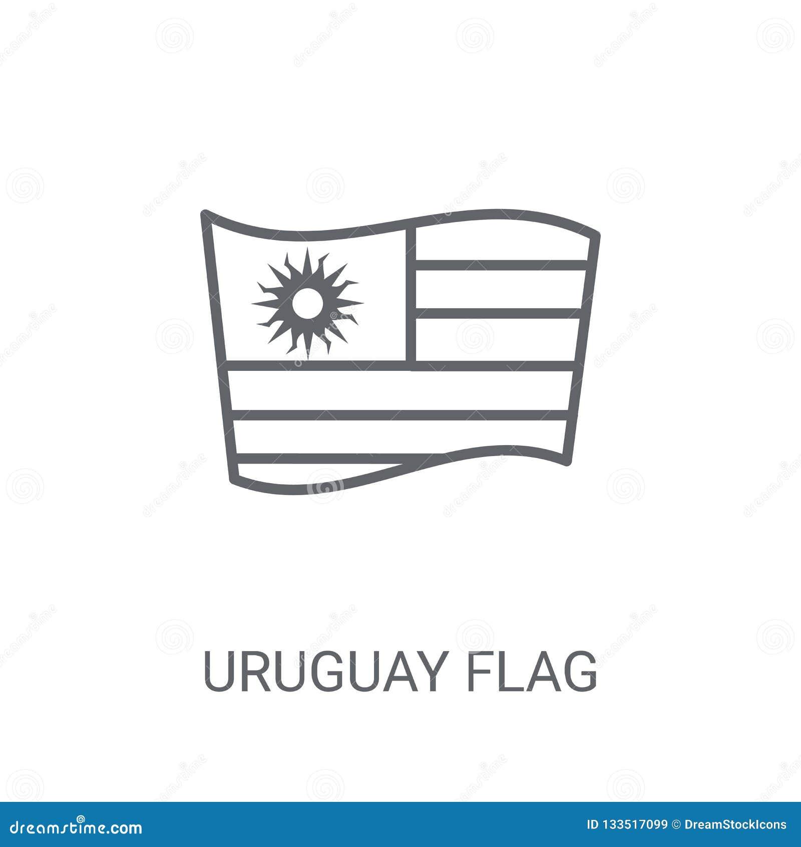 乌拉圭旗子象 在白色bac的时髦乌拉圭旗子商标概念