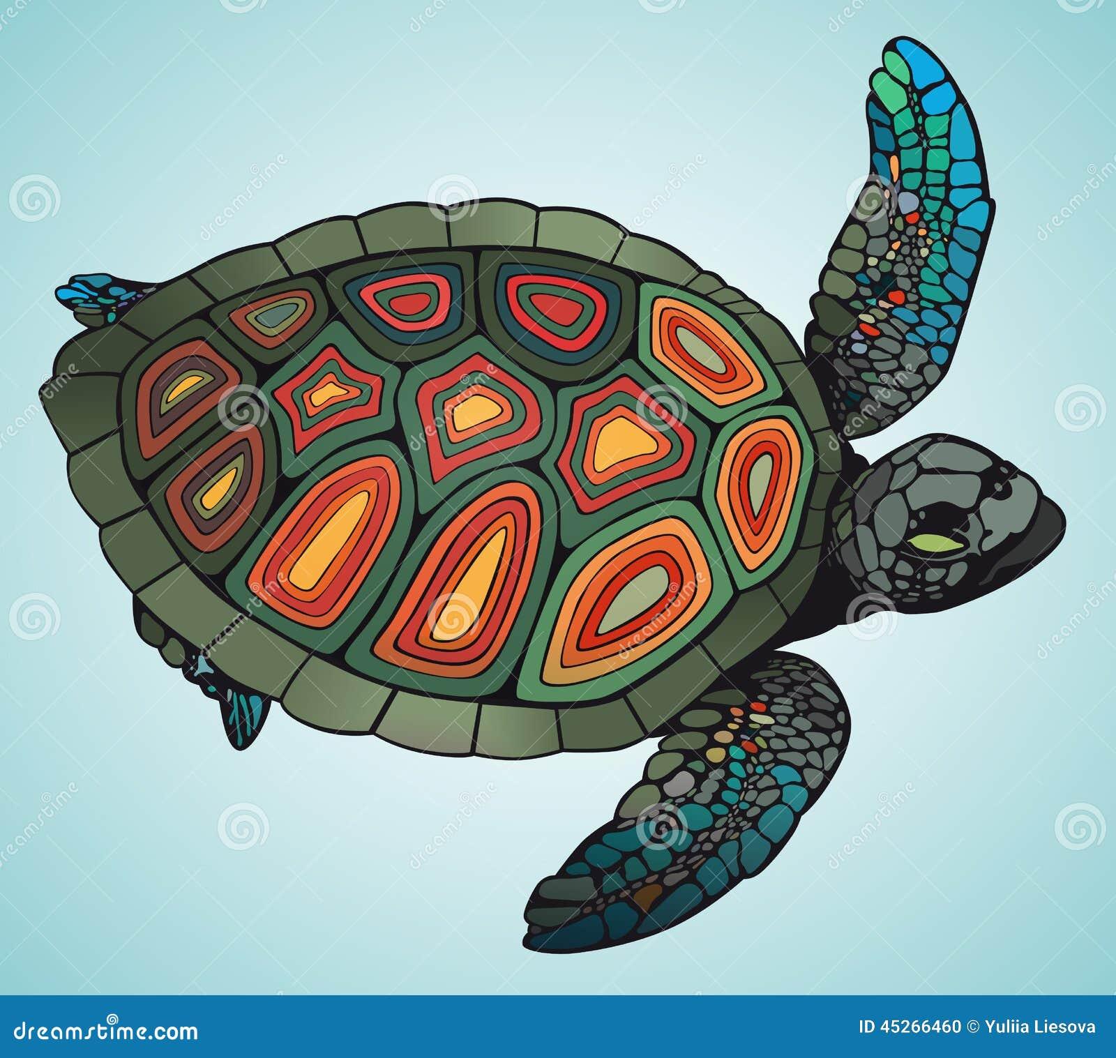 乌龟什么颜色好_在蓝色背景的马赛克五颜六色的乌龟.