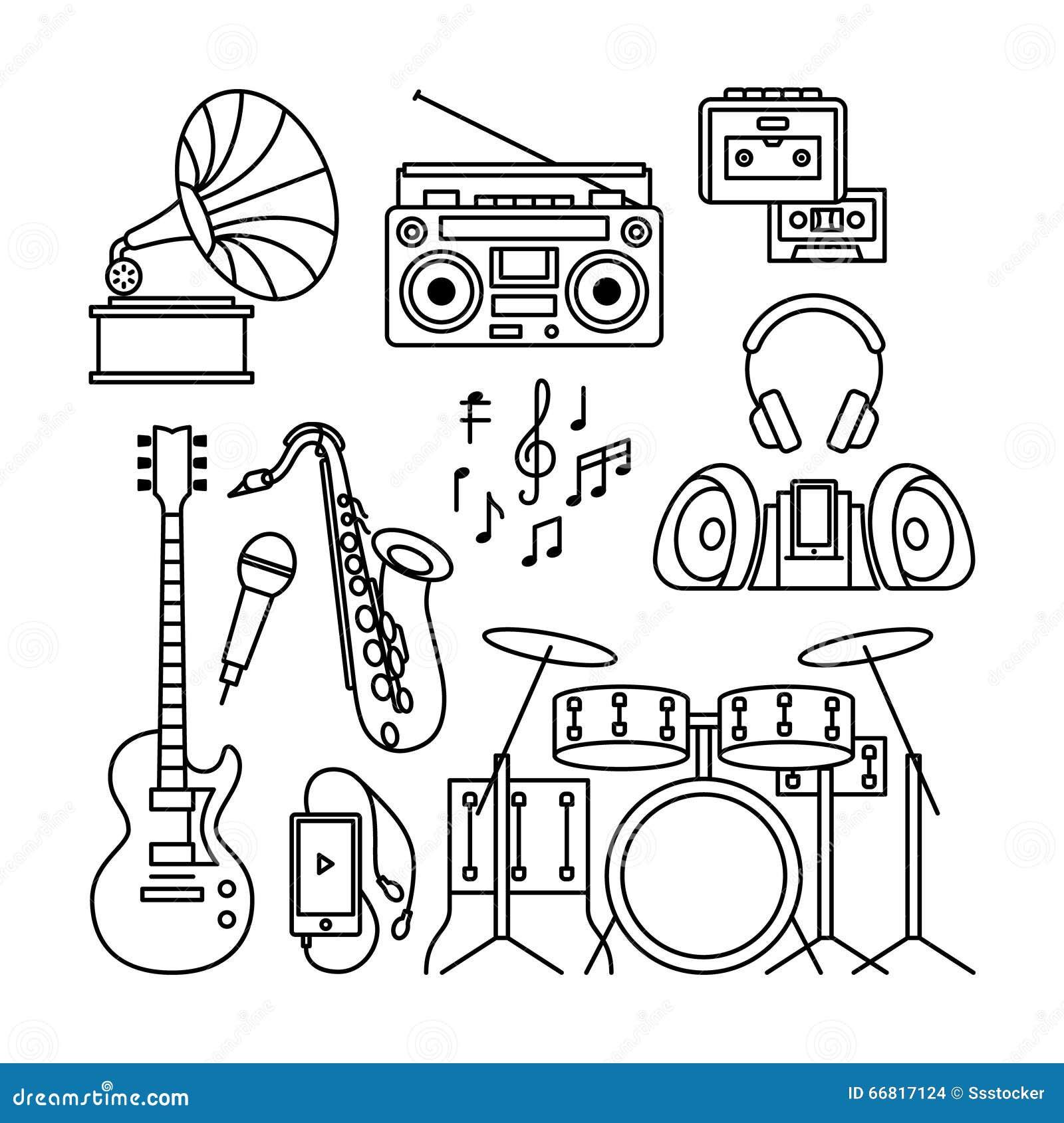 乐器简笔画_音乐和乐器变薄线象 黑等高乐器喜欢留声机,球员,鼓,吉他和萨克斯管