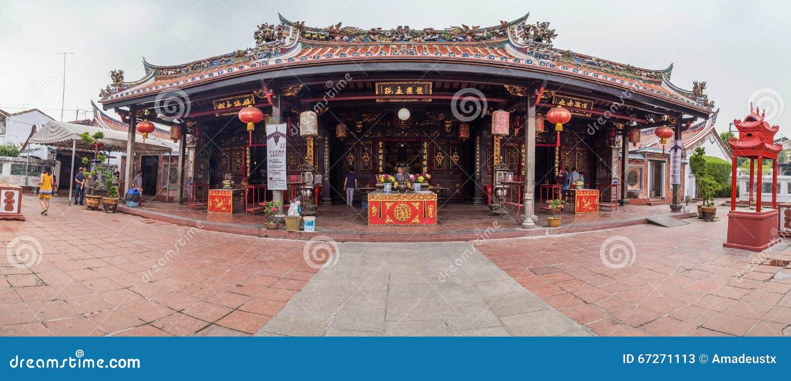 乔治城,槟榔岛/马来西亚-大约2015年10月:城Hoon滕国中国佛教寺庙全景在乔治城,槟榔岛