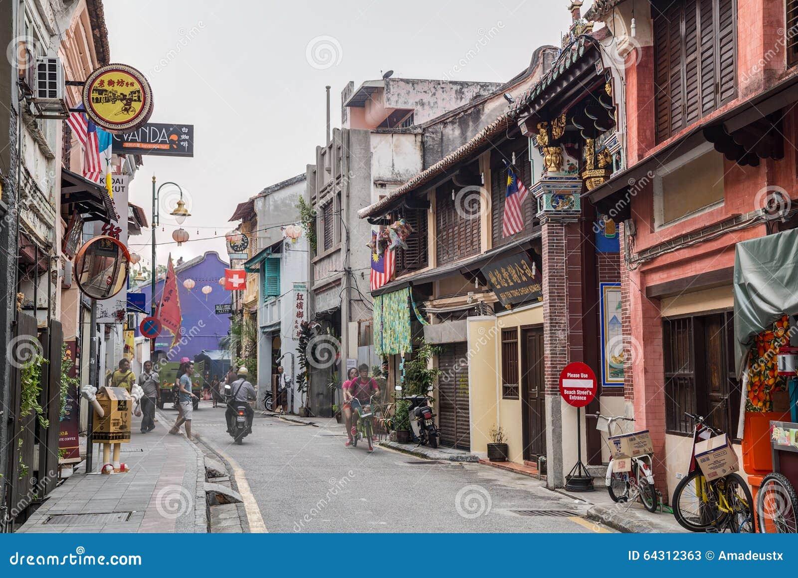 乔治城,槟榔岛/马来西亚-大约2015年10月:老乔治城,槟榔岛,马来西亚街道和建筑学