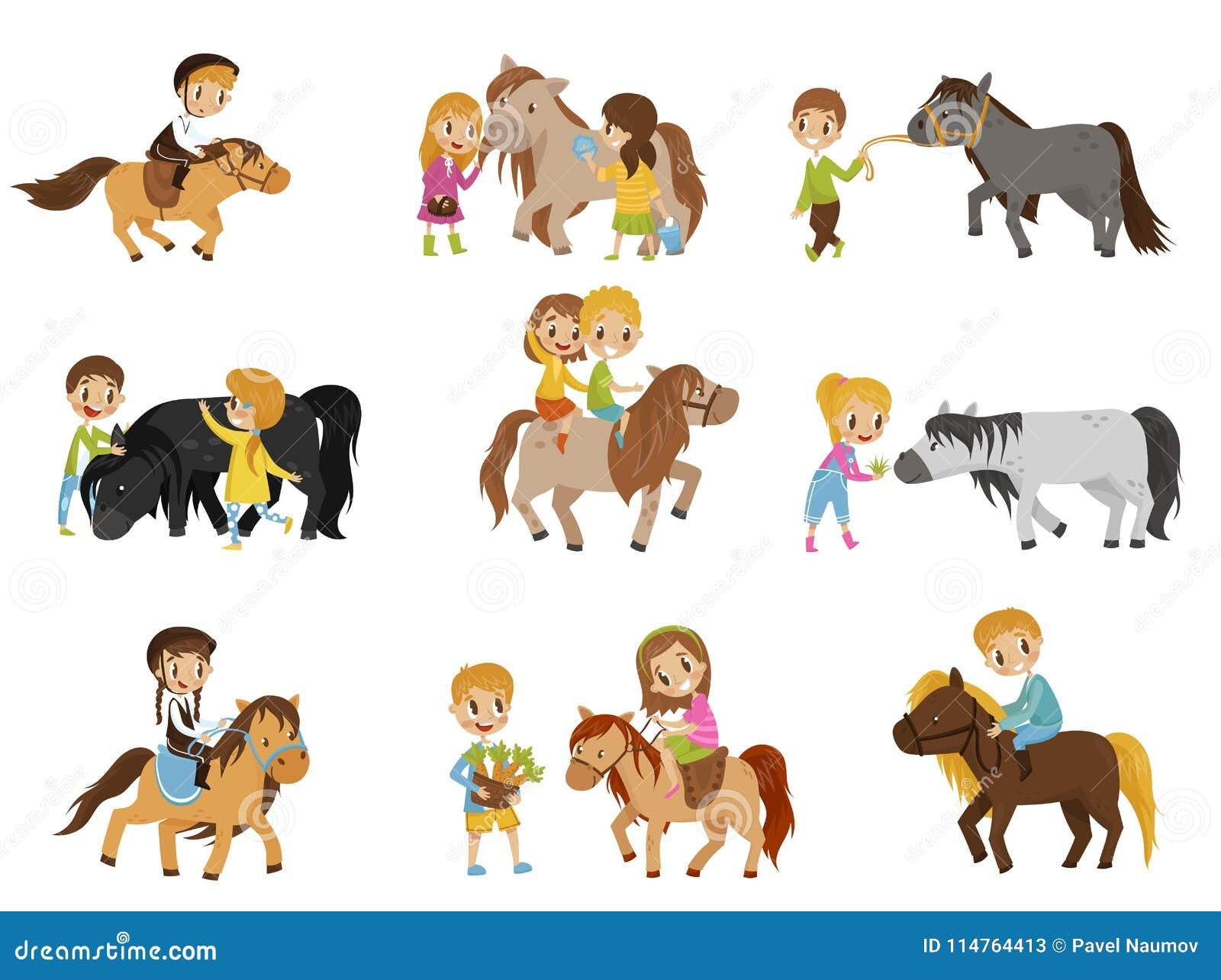 乘坐小马和照顾他们的马的滑稽的小孩设置了,马术运动,传染媒介例证