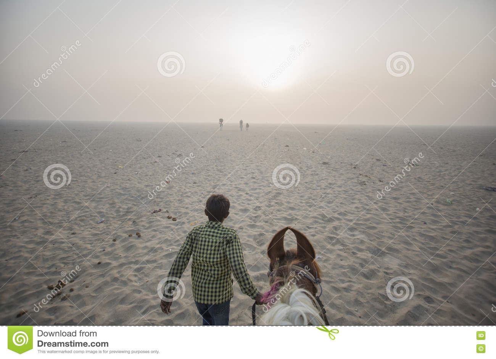 乘坐马领先的POV由男孩入沙漠