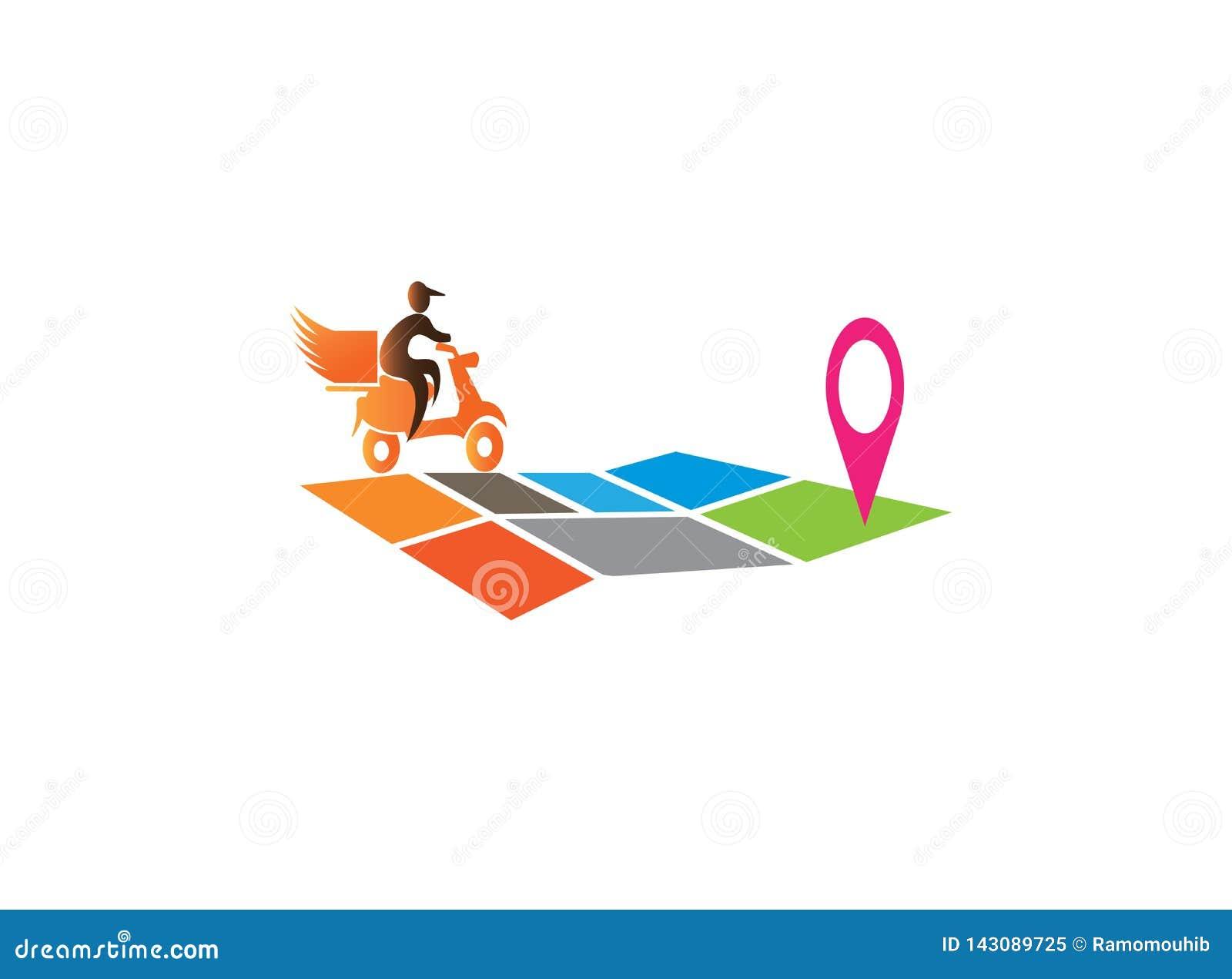 乘坐moto的送货人在商标设计的地图