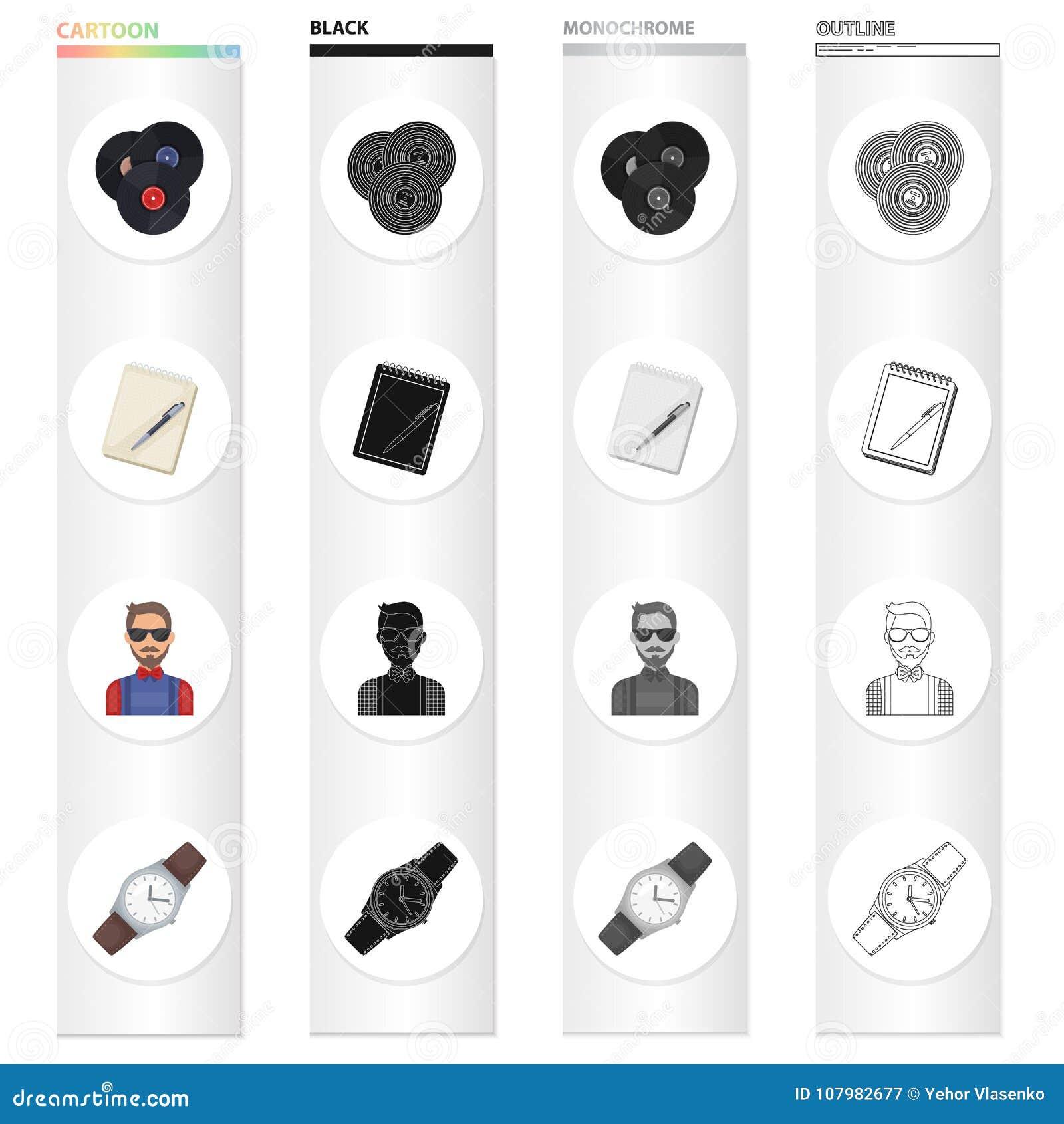 乙烯基圆盘,有笔的,行家,减速火箭的手表笔记本 在动画片的行家样式集合汇集象染黑