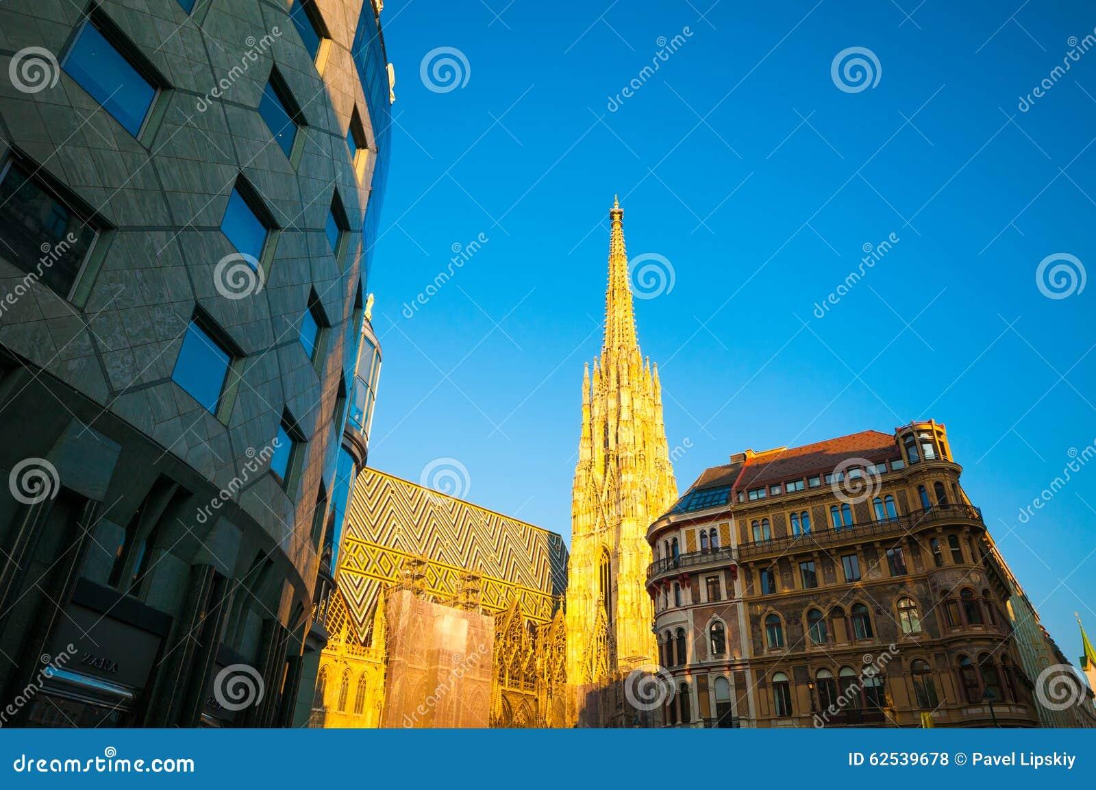 维也纳,奥地利- 2015年10月12日:太阳的St斯蒂芬大教堂