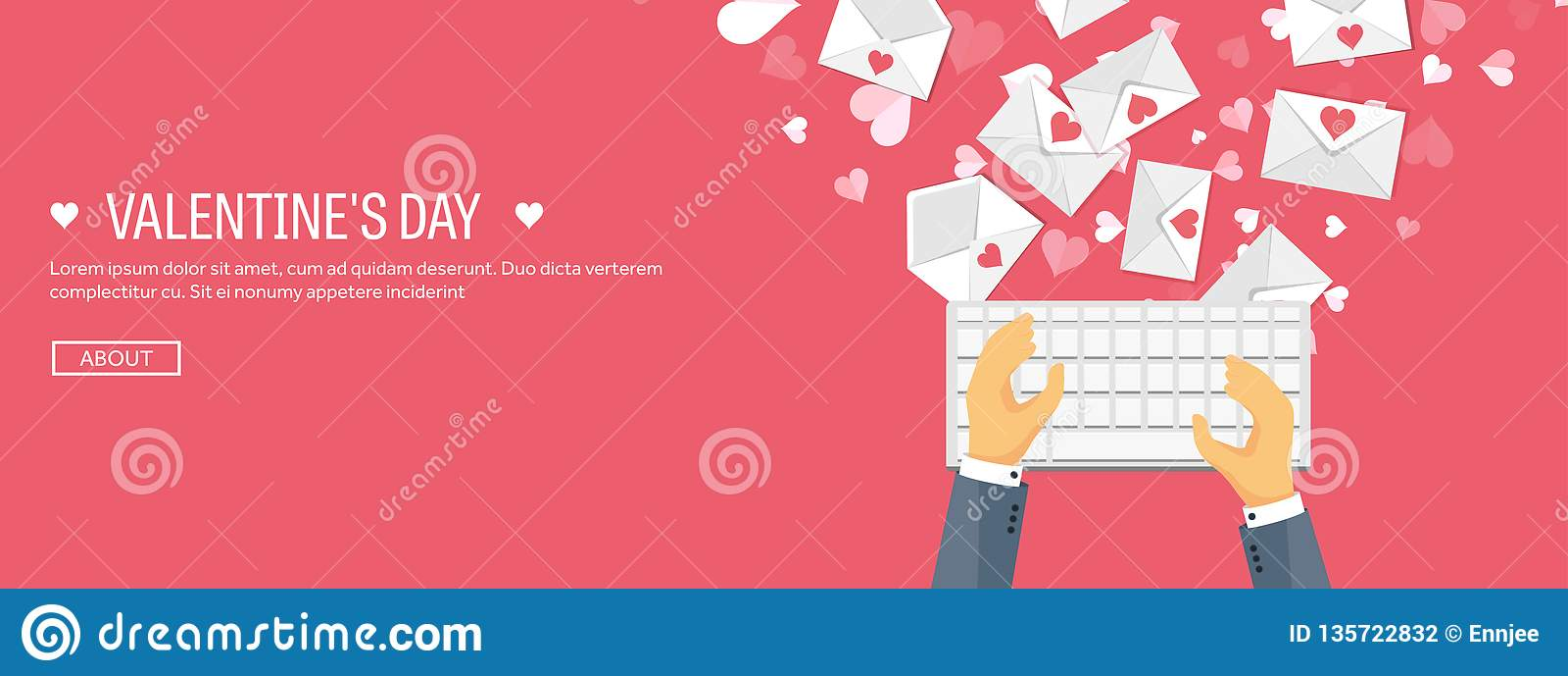 也corel凹道例证向量 与键盘和信封的平的背景 装饰重点例证爱 红色上升了 是我的华伦泰 14