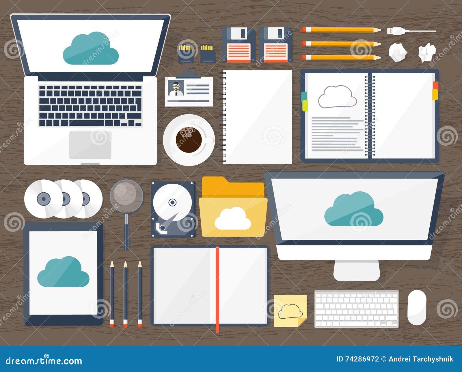 也corel凹道例证向量 工作场所,与文件的桌,计算机 平的云彩计算的背景 媒介,数据服务器 网