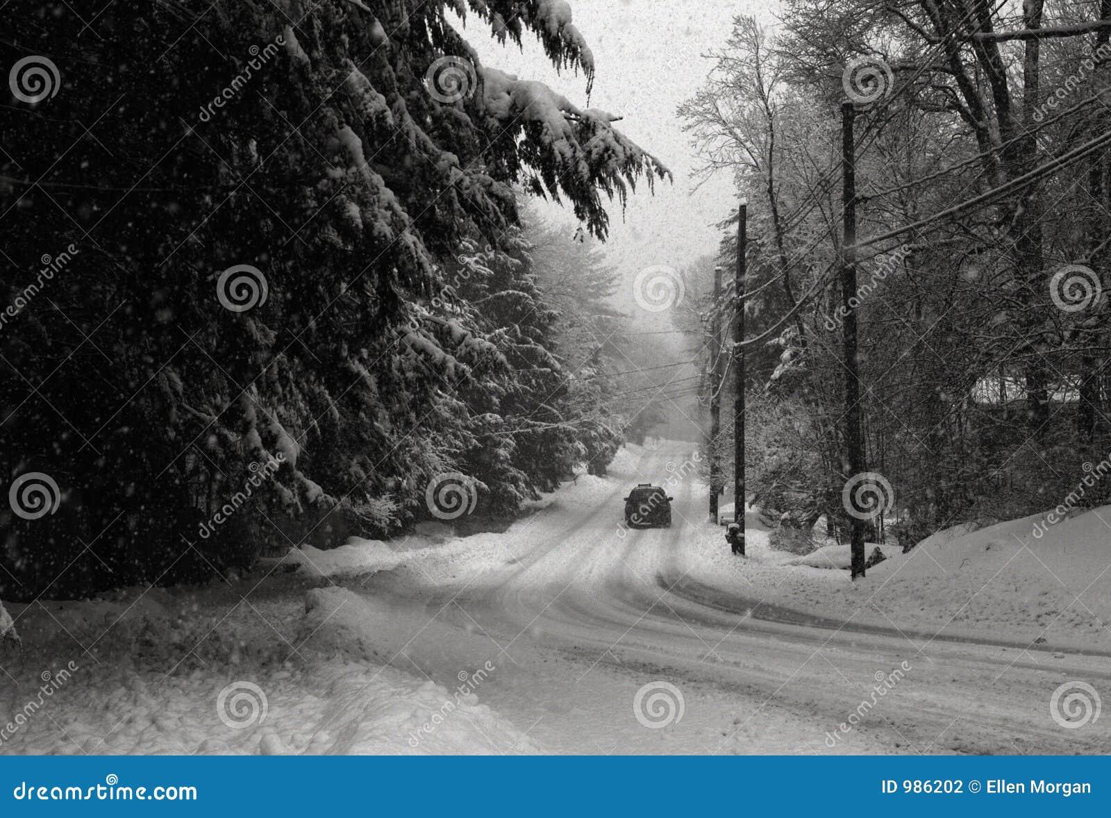 乡下公路暴风雪