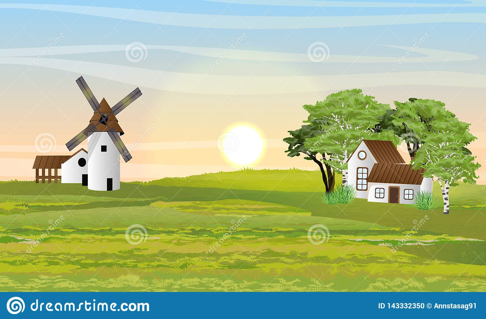 乡下在夏天 磨房、谷仓和房子有庭院的