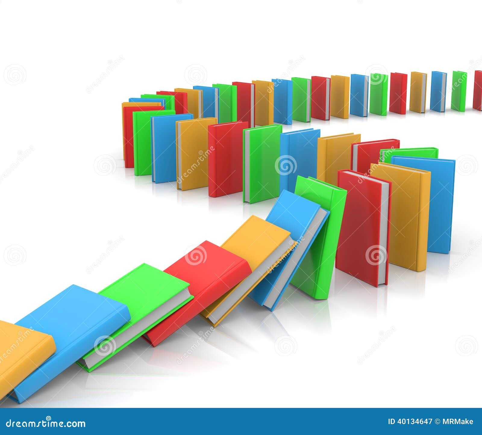 沿道路被排列的色的书喜欢在白色背景的多米诺.