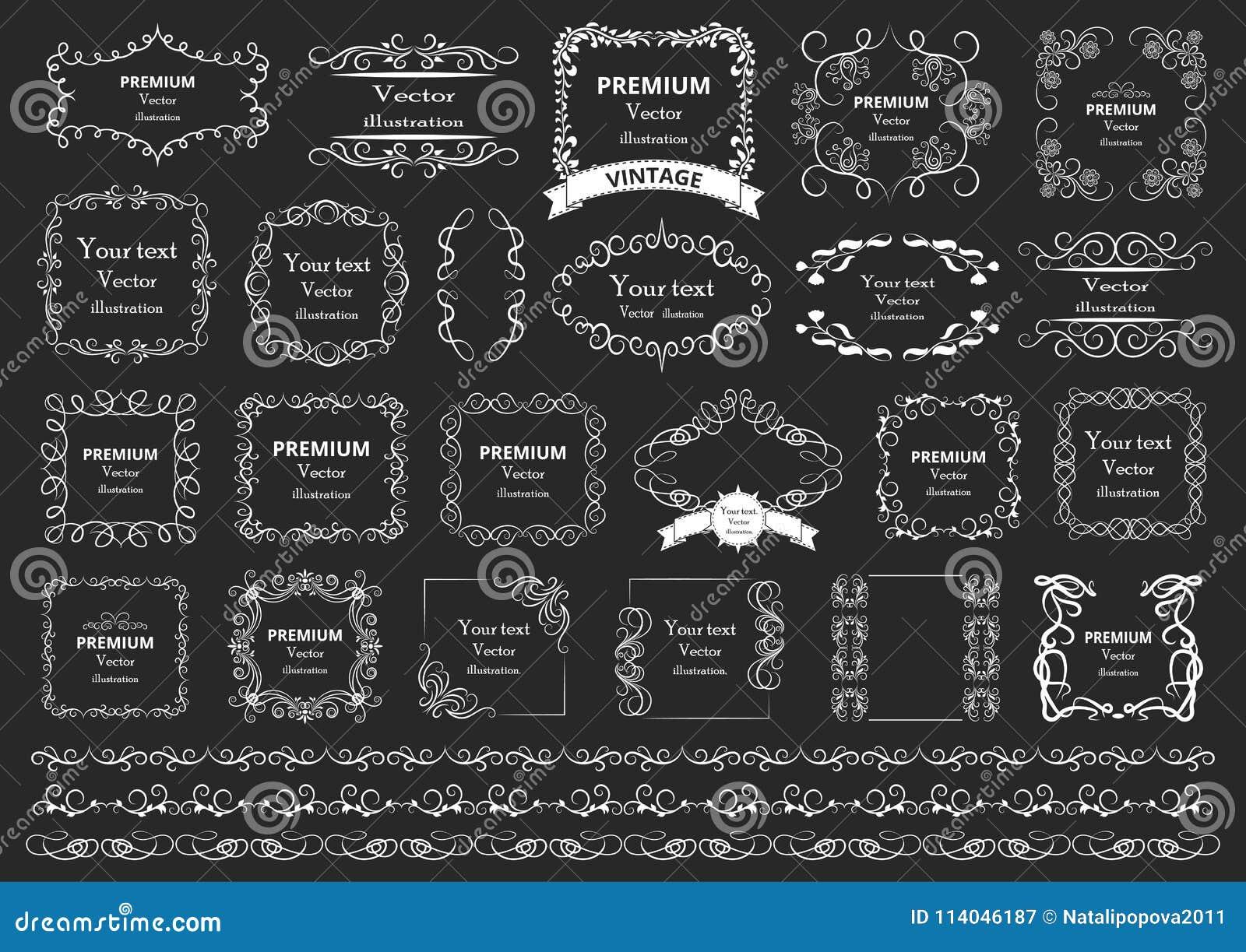 书法设计要素图象向量 装饰漩涡或纸卷,葡萄酒构筑,华丽、标签和分切器 减速火箭的传染媒介illust