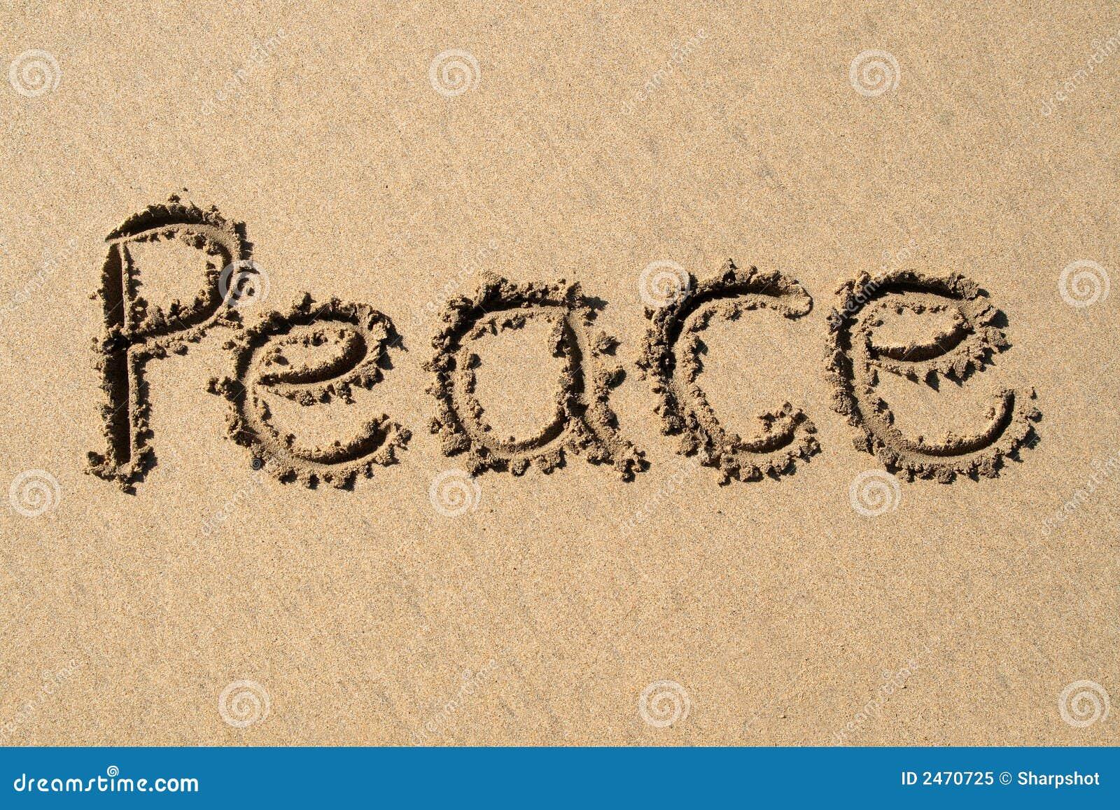 书面的海滩和平