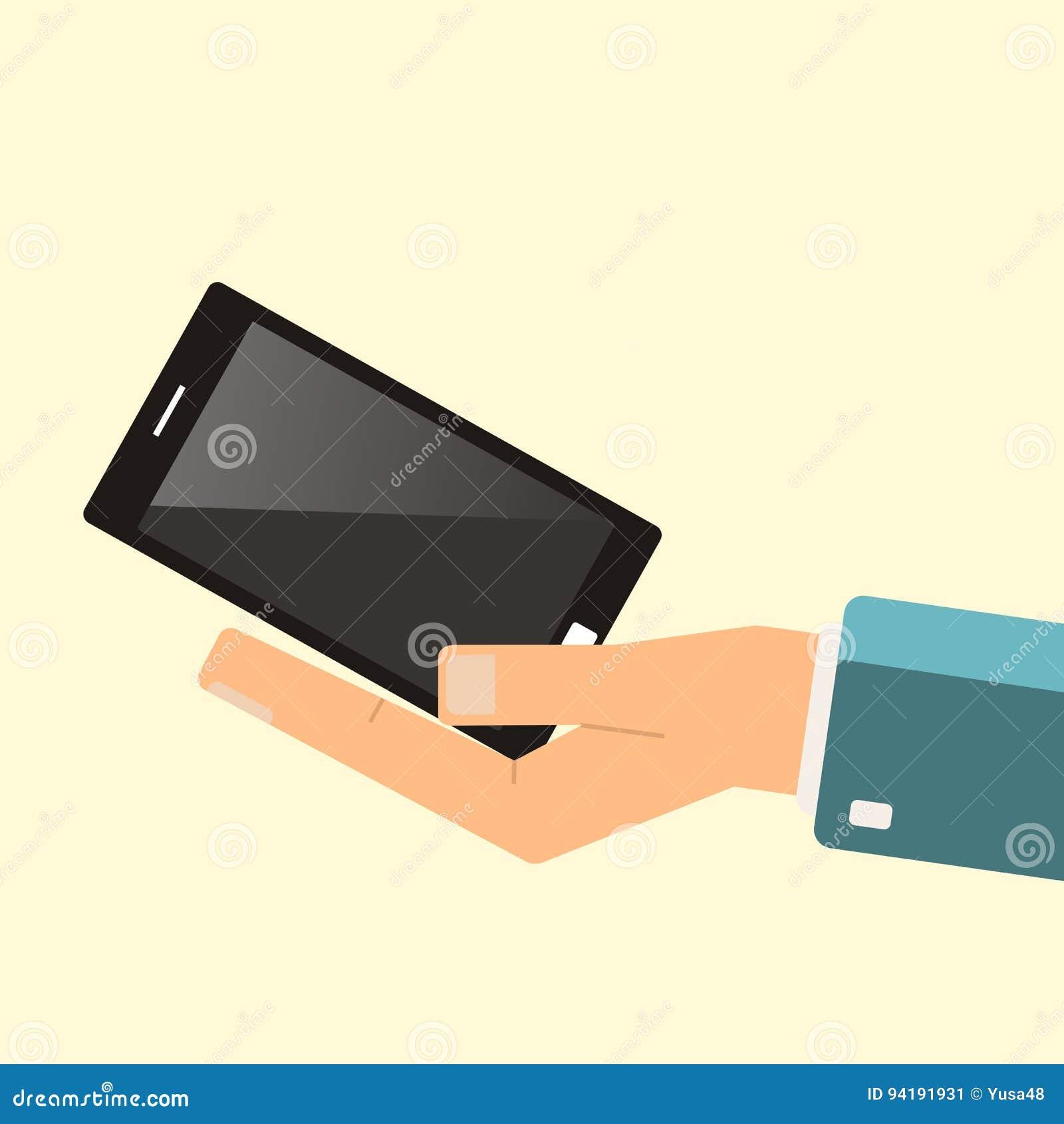买的智能手机 手举行智能手机 向量