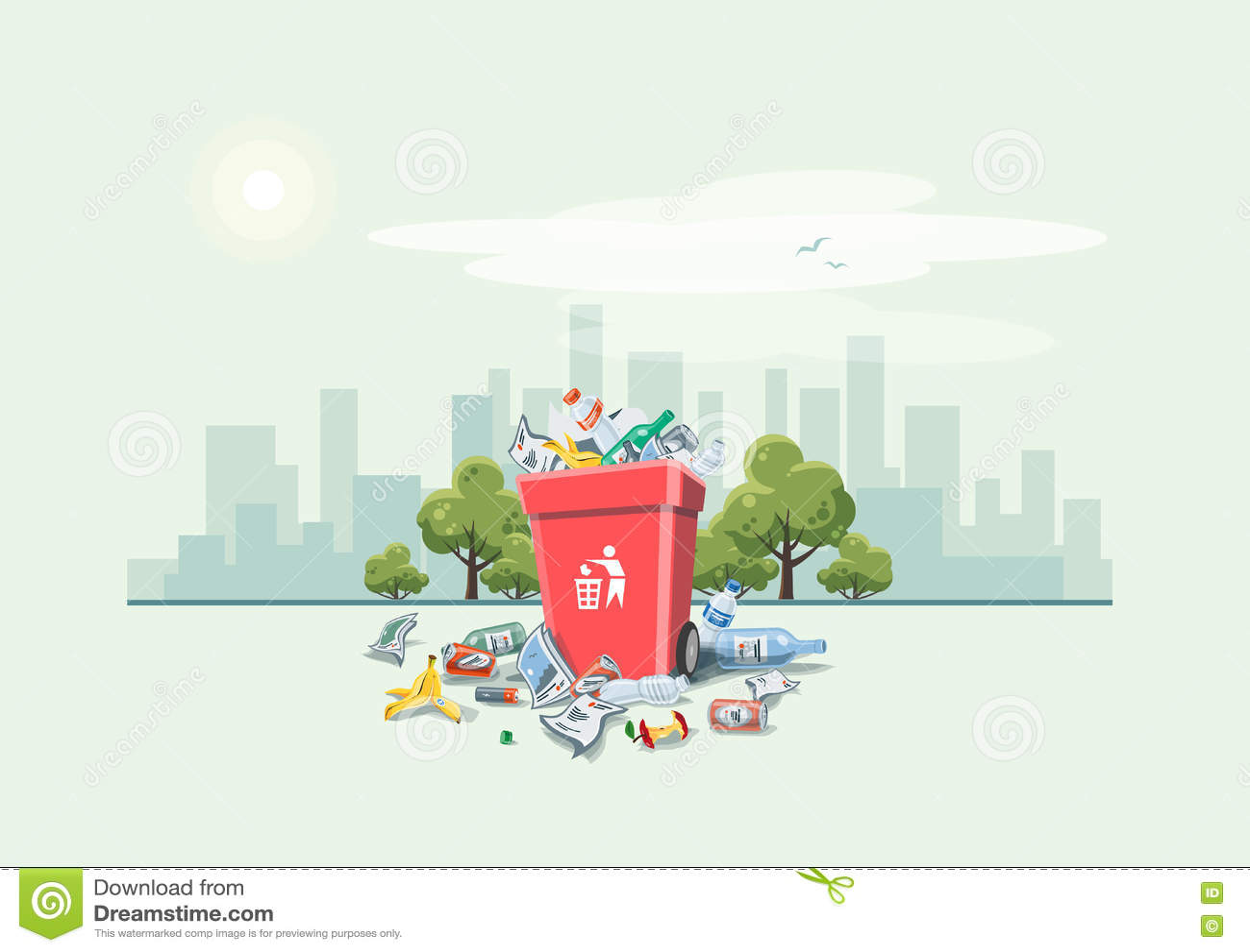 乱丢在垃圾桶附近的垃圾在街道上