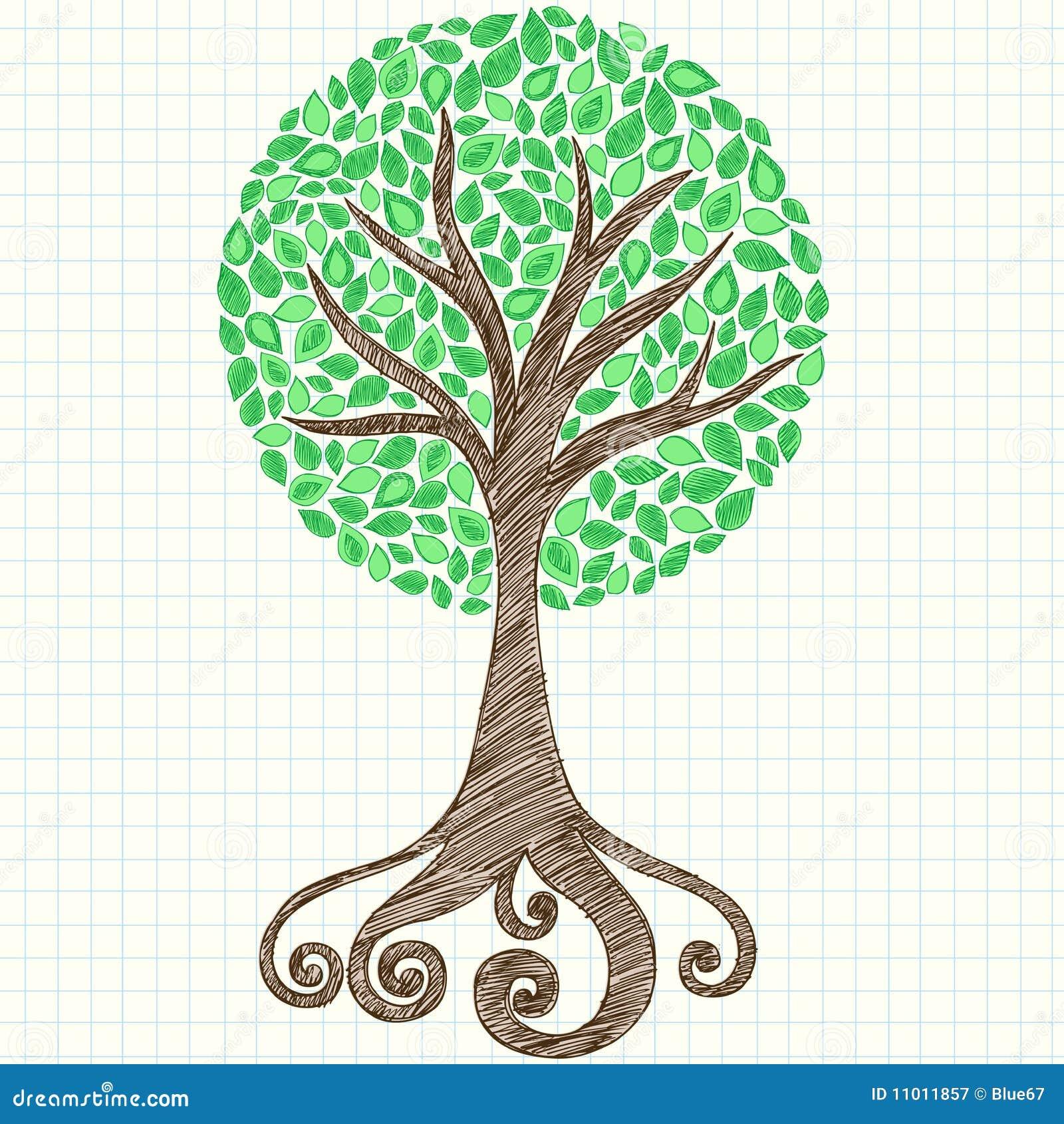 乱画图形笔记本纸张概略结构树