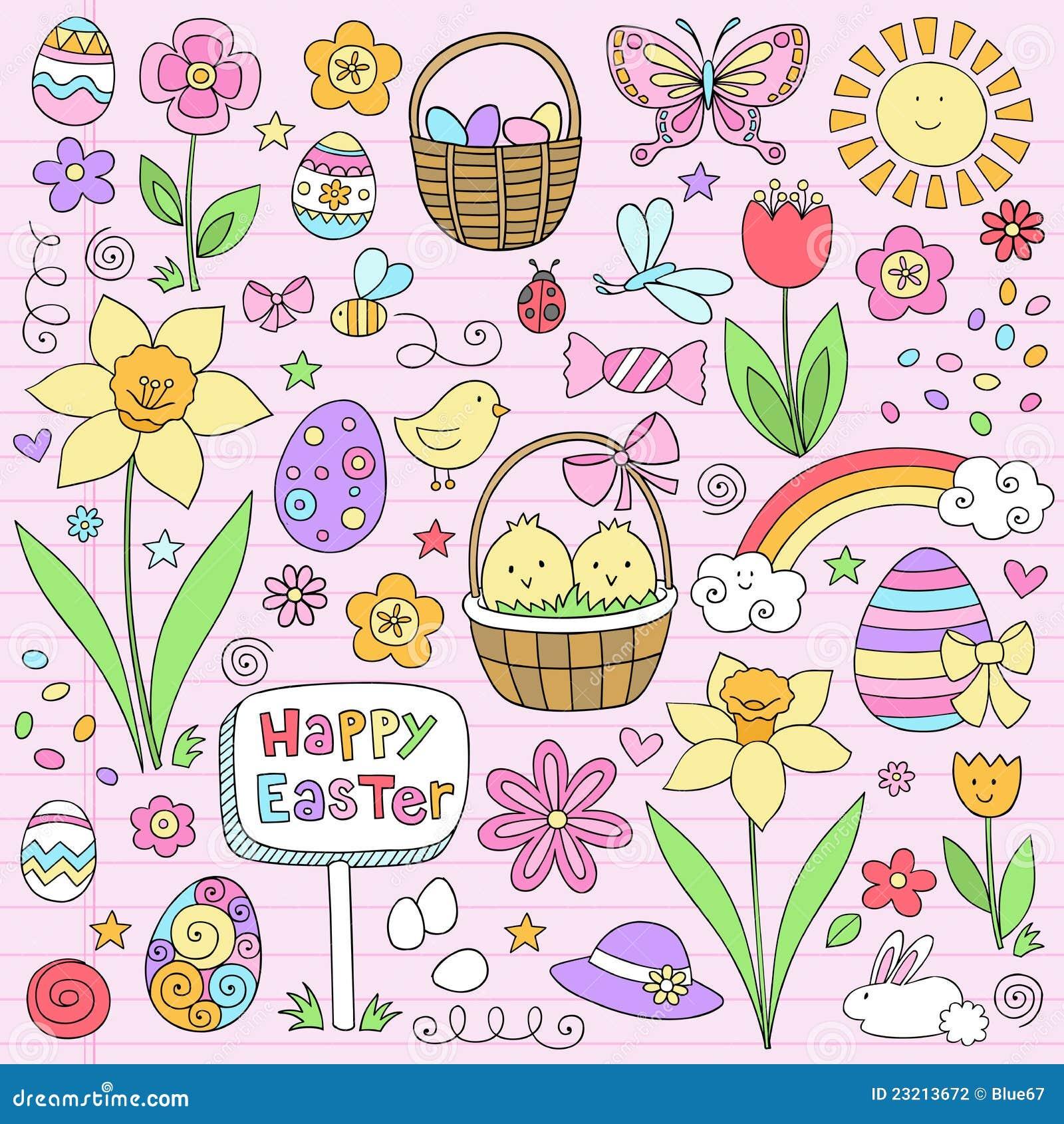 乱画复活节笔记本集合春天向量