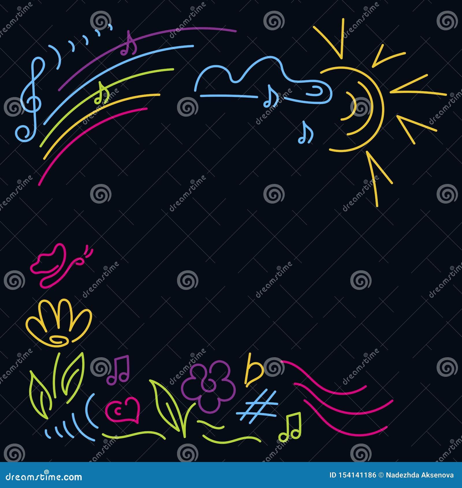乱画手拉 海报音乐会,节日 儿童的党,音乐课,学校党