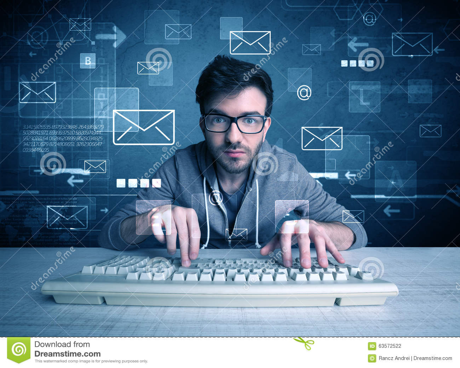 乱砍电子邮件密码概念的入侵者
