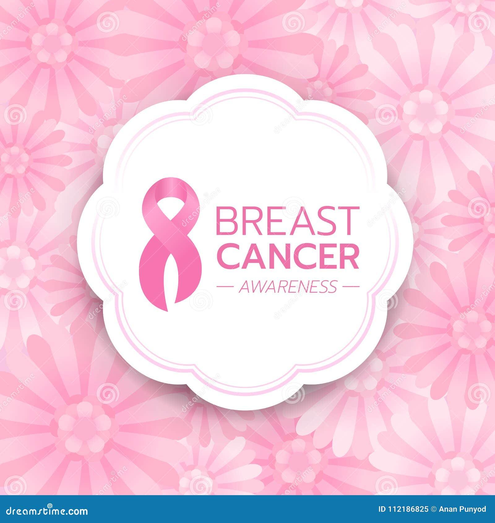 乳腺癌了悟文本和桃红色丝带签到在抽象桃红色花背景传染媒介设计的白色圈子横幅