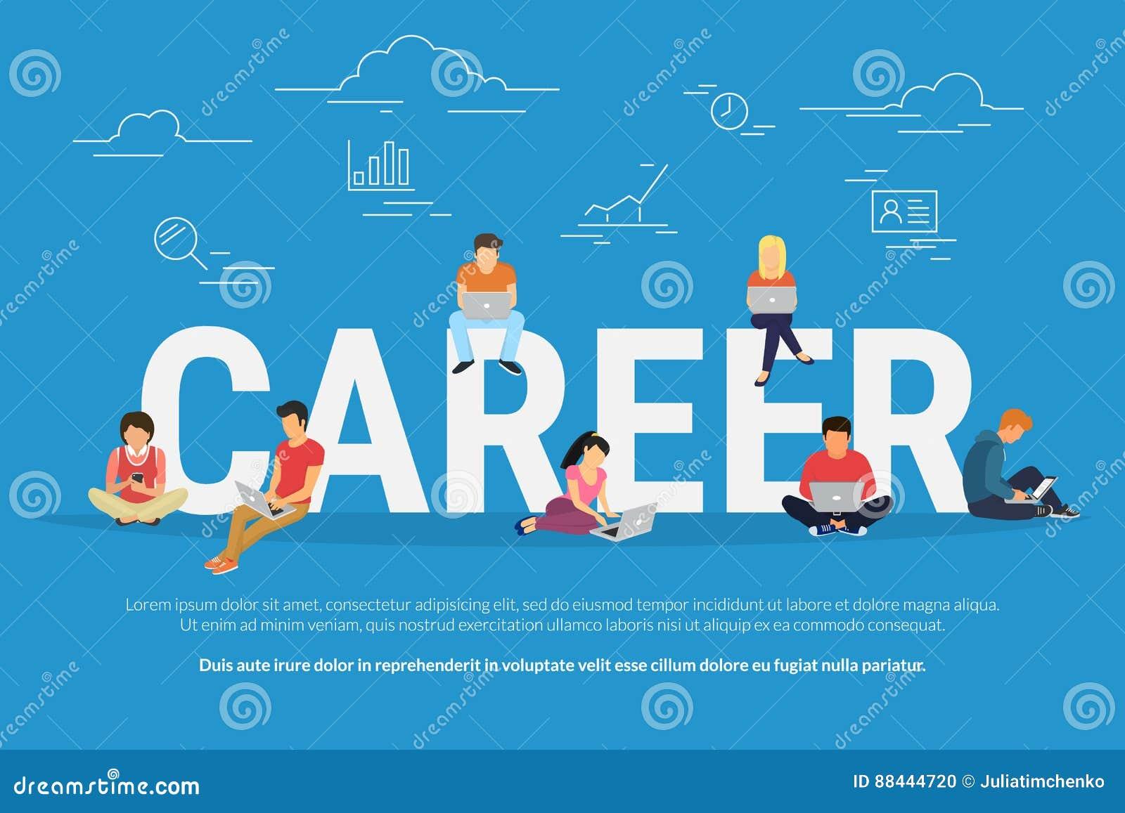 事业商人的概念例证使用设备的为工作搜寻和专业成长