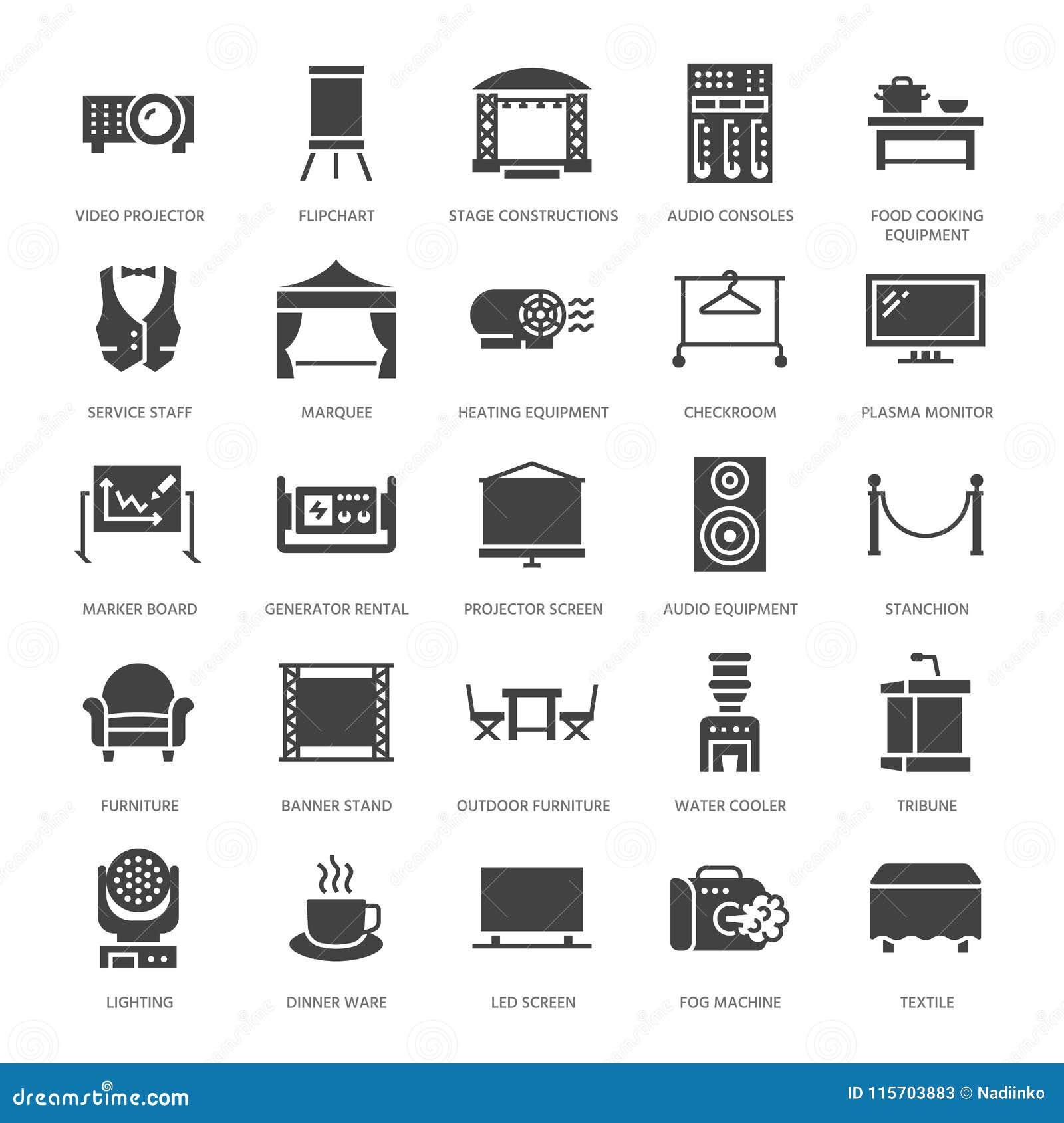 事件供应平的纵的沟纹象 党设备-演出建筑,视觉放映机,柱子, flipchart,大门罩