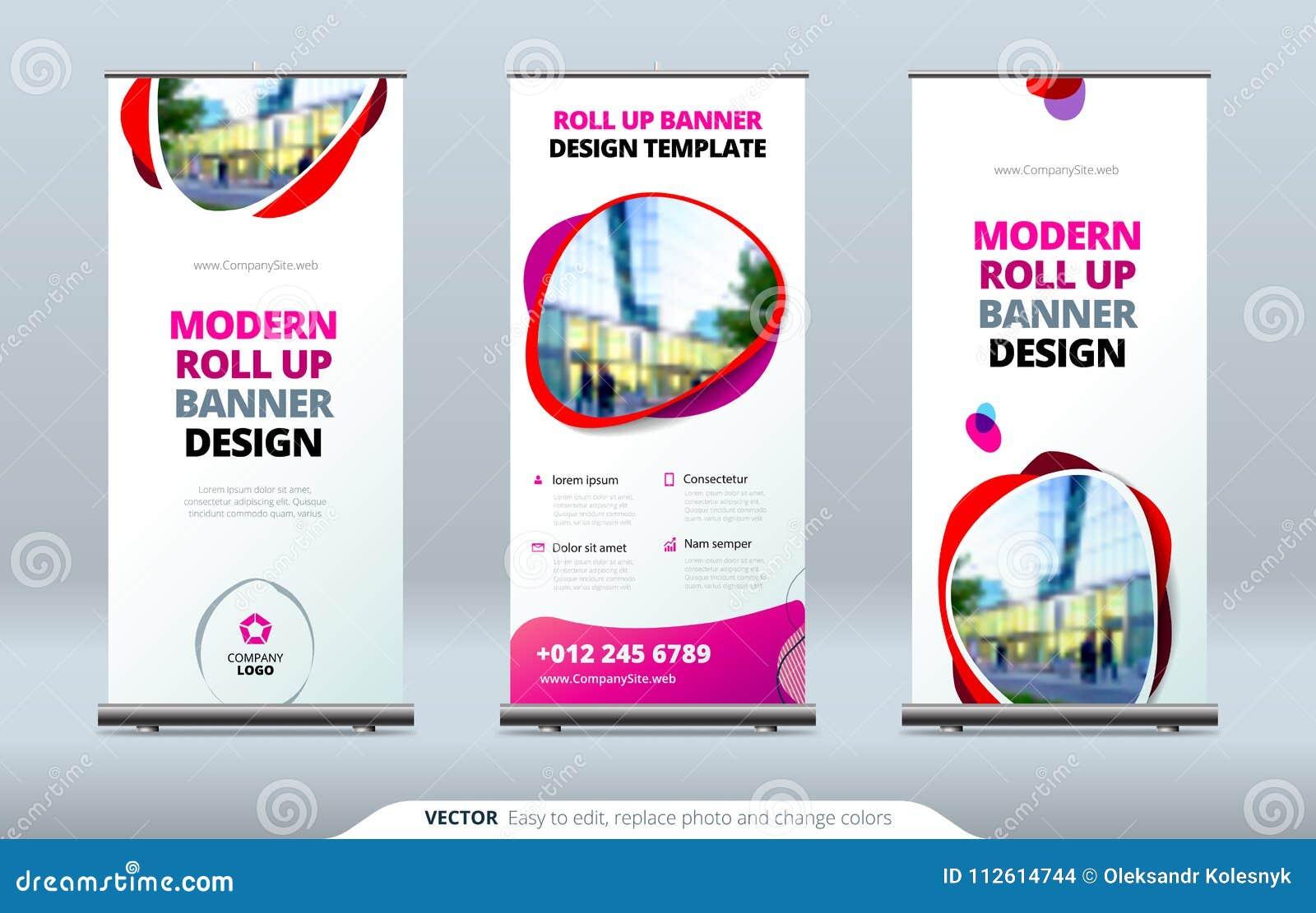 事务卷起横幅立场 3d背景概念例证查出的介绍回报了白色 抽象现代卷起背景 垂直卷起模板