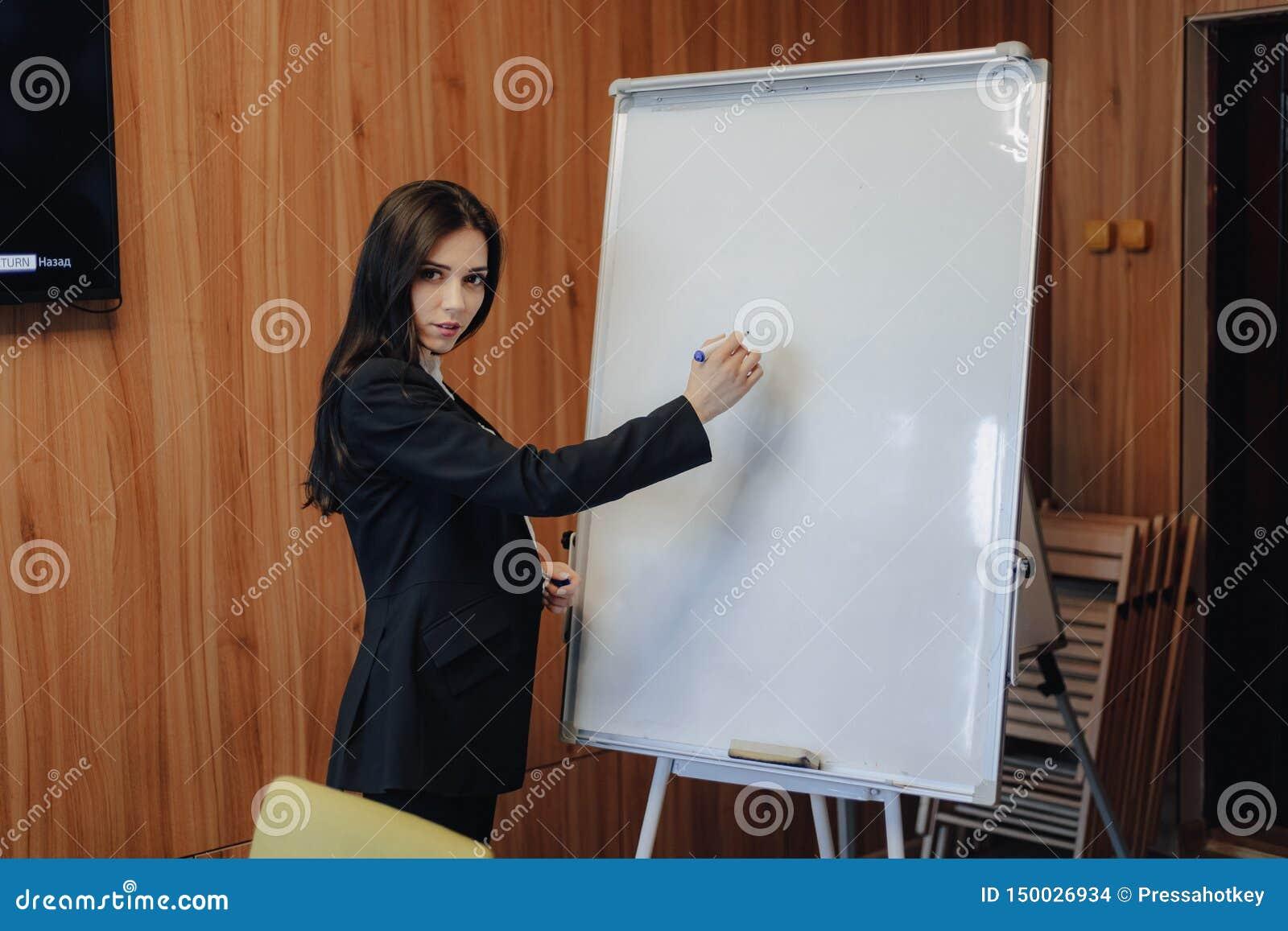 事务式衣裳的年轻情感可爱的女孩与在现代办公室或观众的flipchart一起使用
