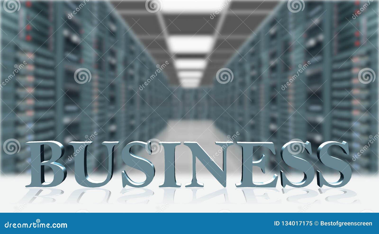 事务-3D在服务器室背景前面的信件