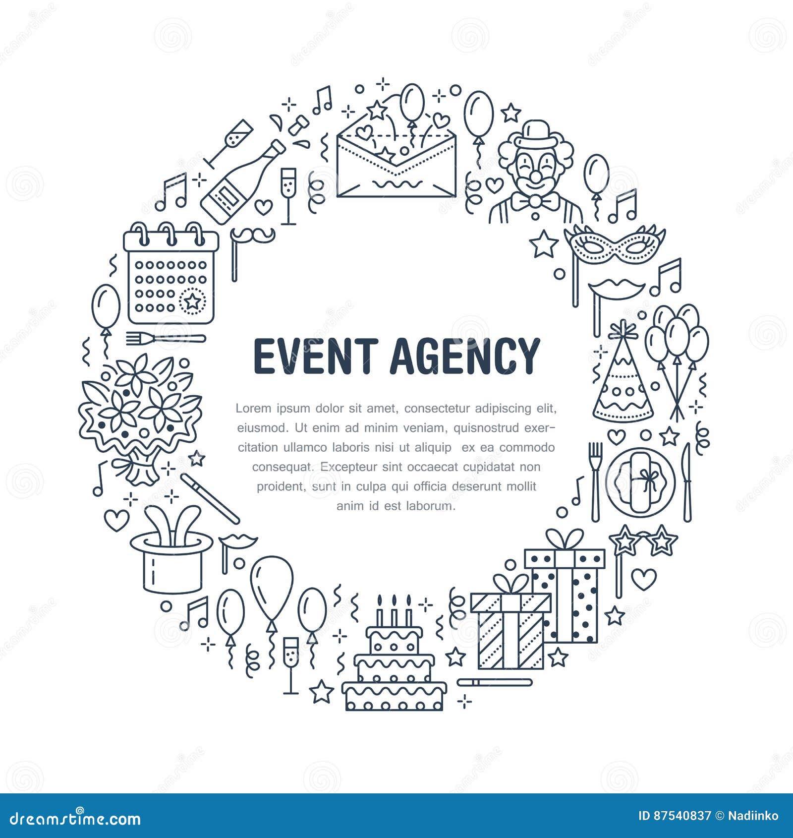 事件机构,与传染媒介线承办酒席象,生日蛋糕,气球装饰,花的生日聚会横幅