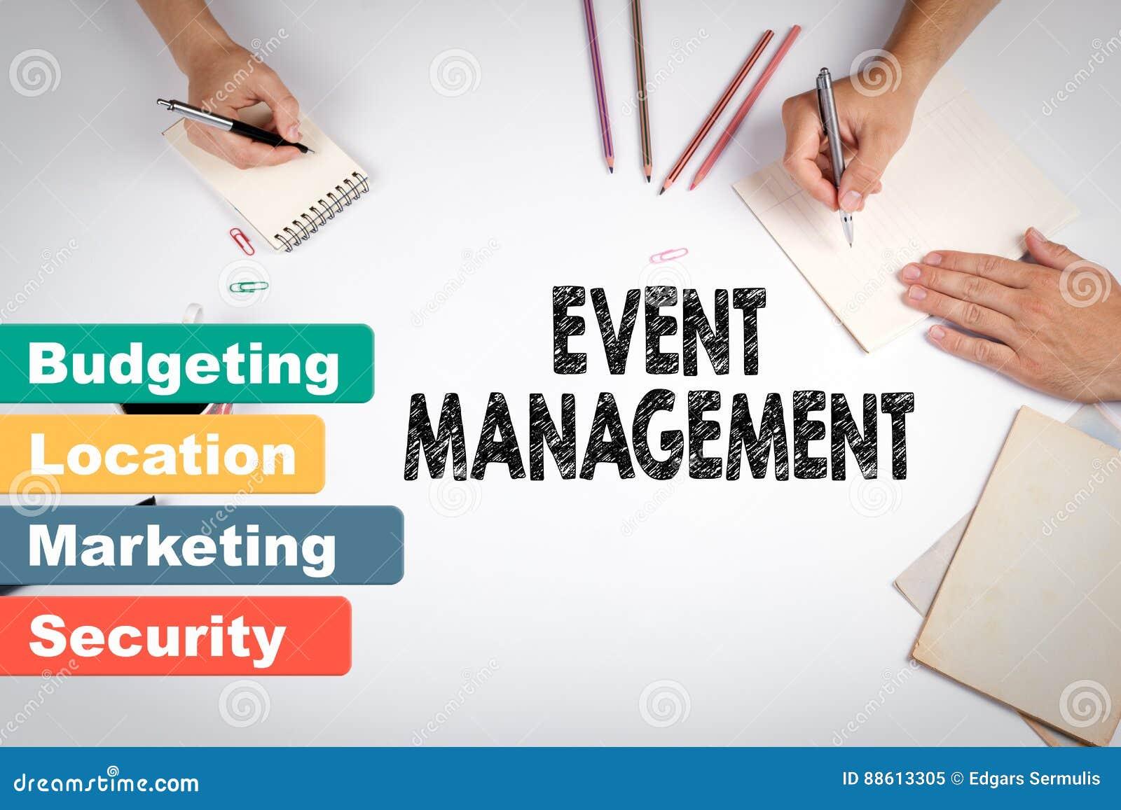 事件管理,企业概念 会议在白色办公室桌上