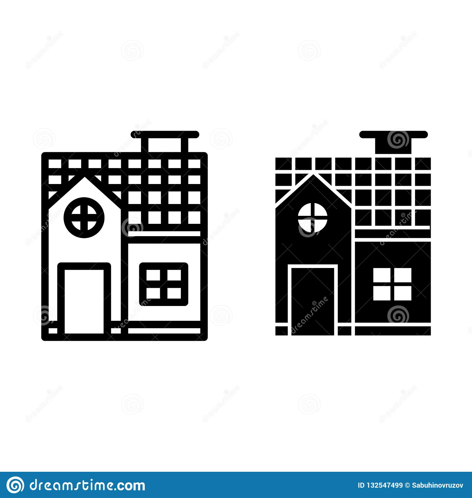 二层楼的房子线和纵的沟纹象 在白色隔绝的小村庄传染媒介例证 建筑学概述样式