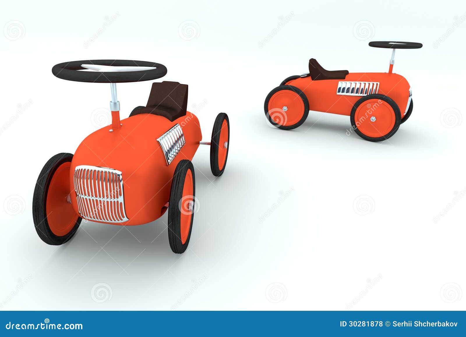 二红色在白色背景的玩具汽车