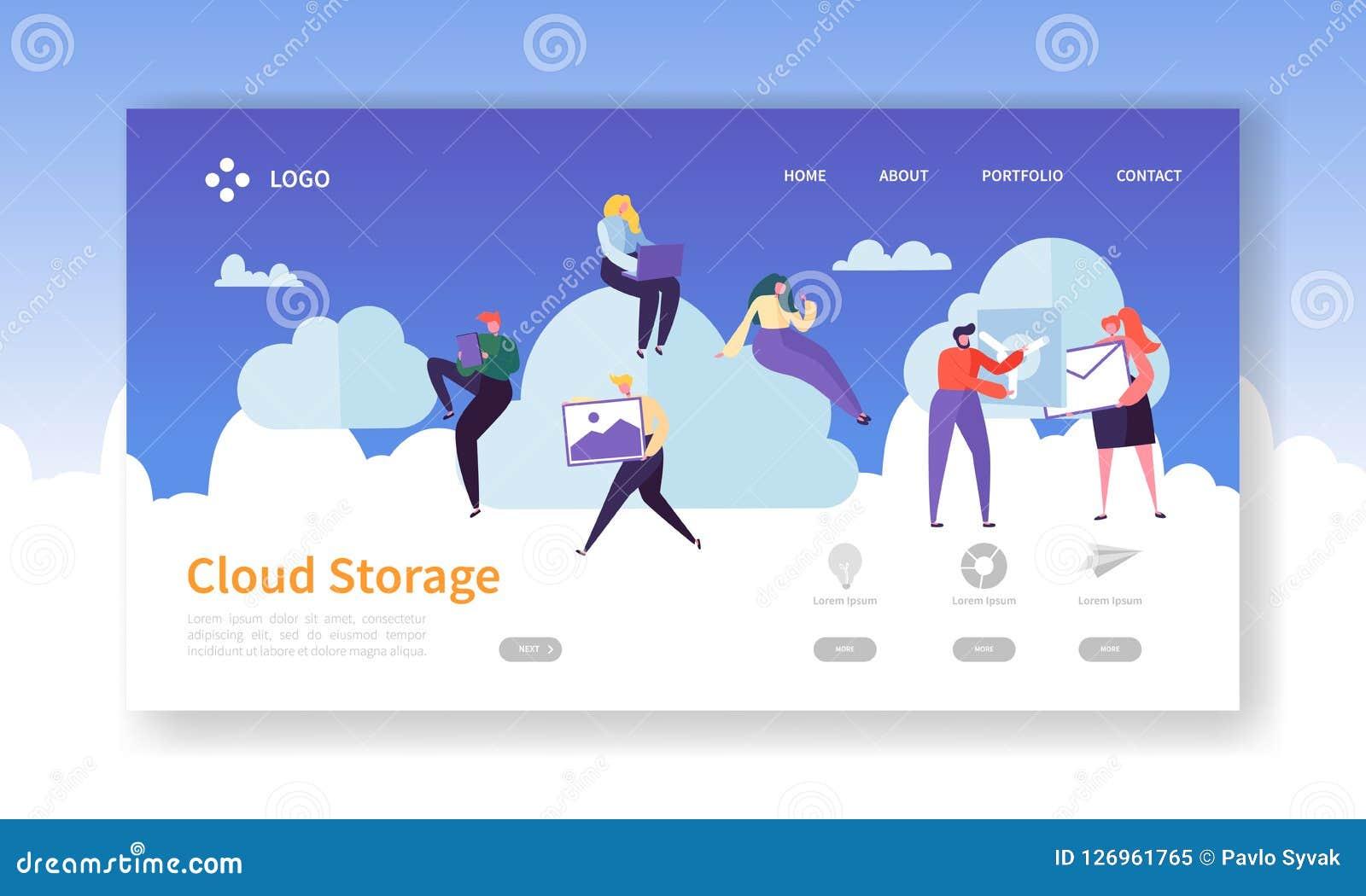 云彩储存工艺着陆页模板 主持与平的人字符的数据中心网站布局