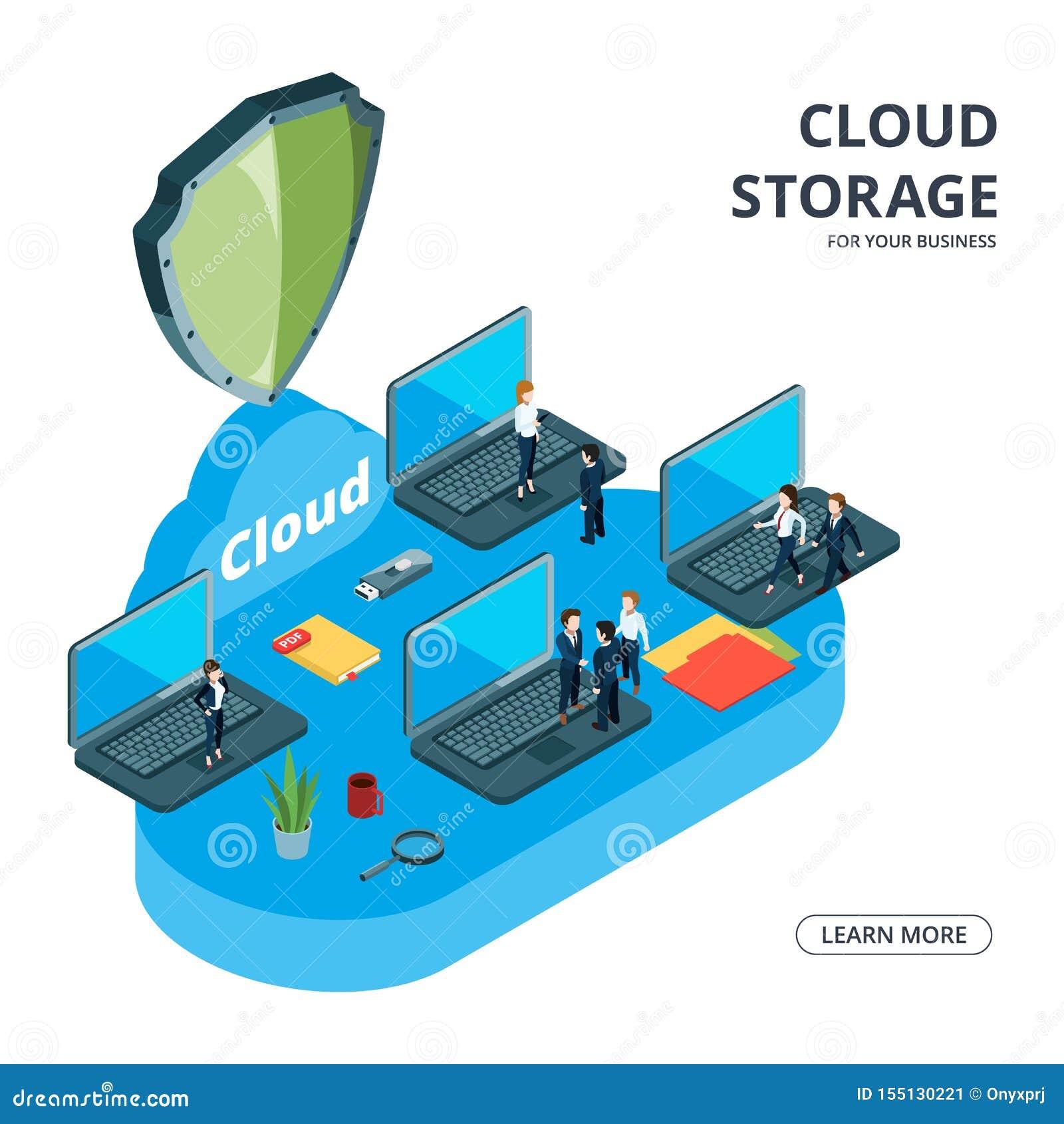 云彩存贮传染媒介概念 等量企业例证 企业队使用了云彩存贮