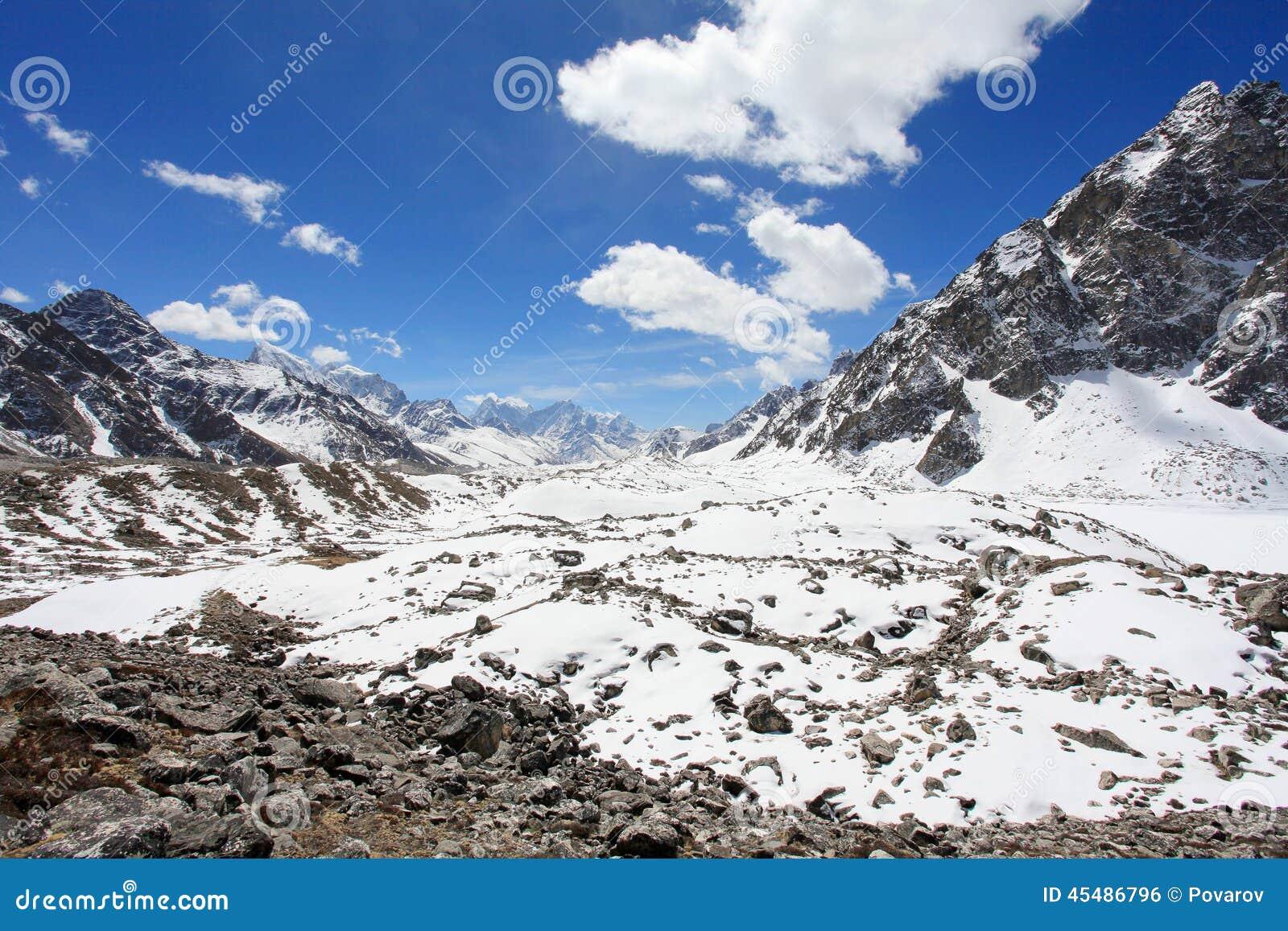 云彩的运动在山珠穆琅玛, Gyazumba Glacie的