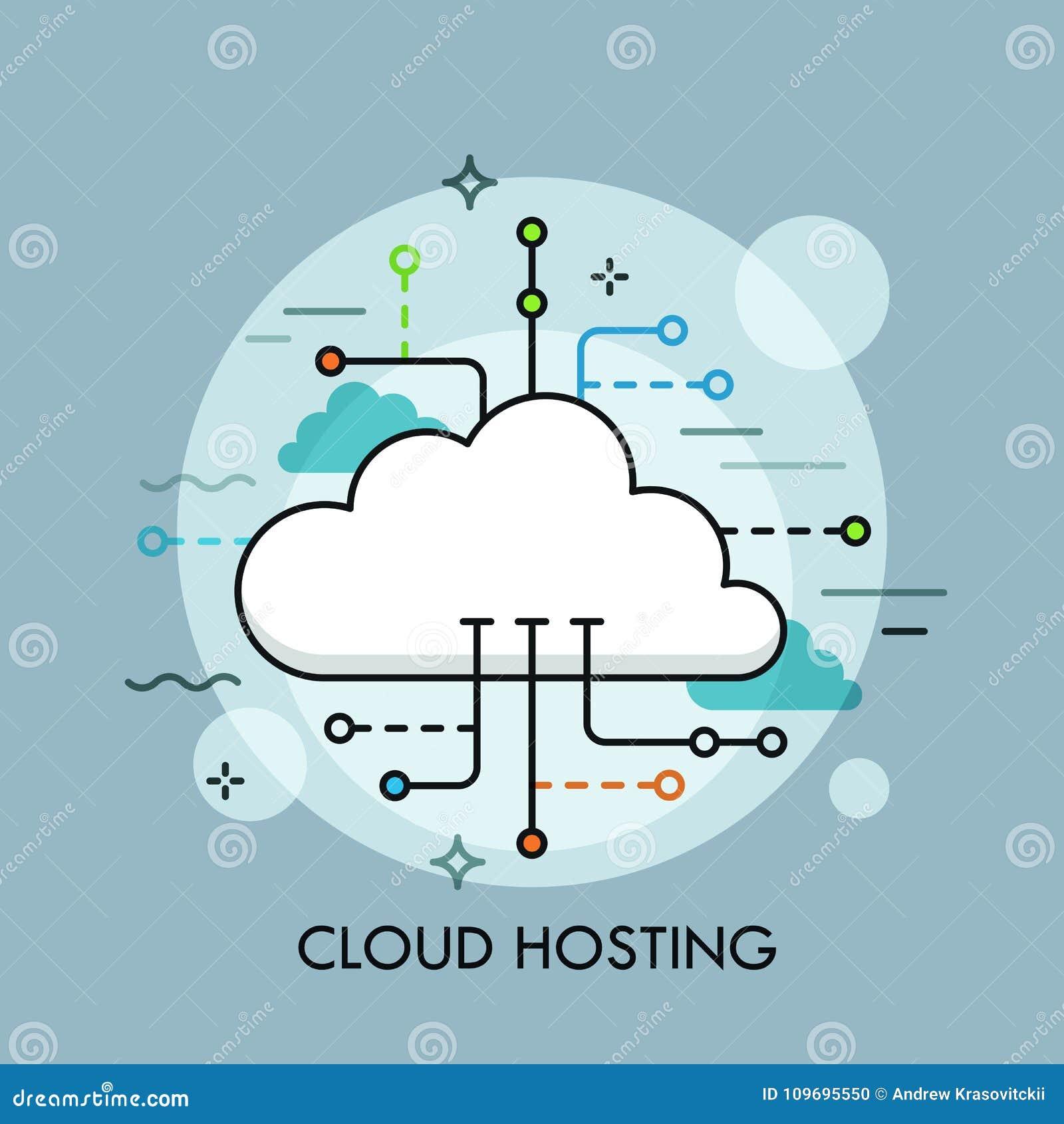 云彩计算的服务或技术的概念,大数据存储和主持,网上文件下载,加载,管理
