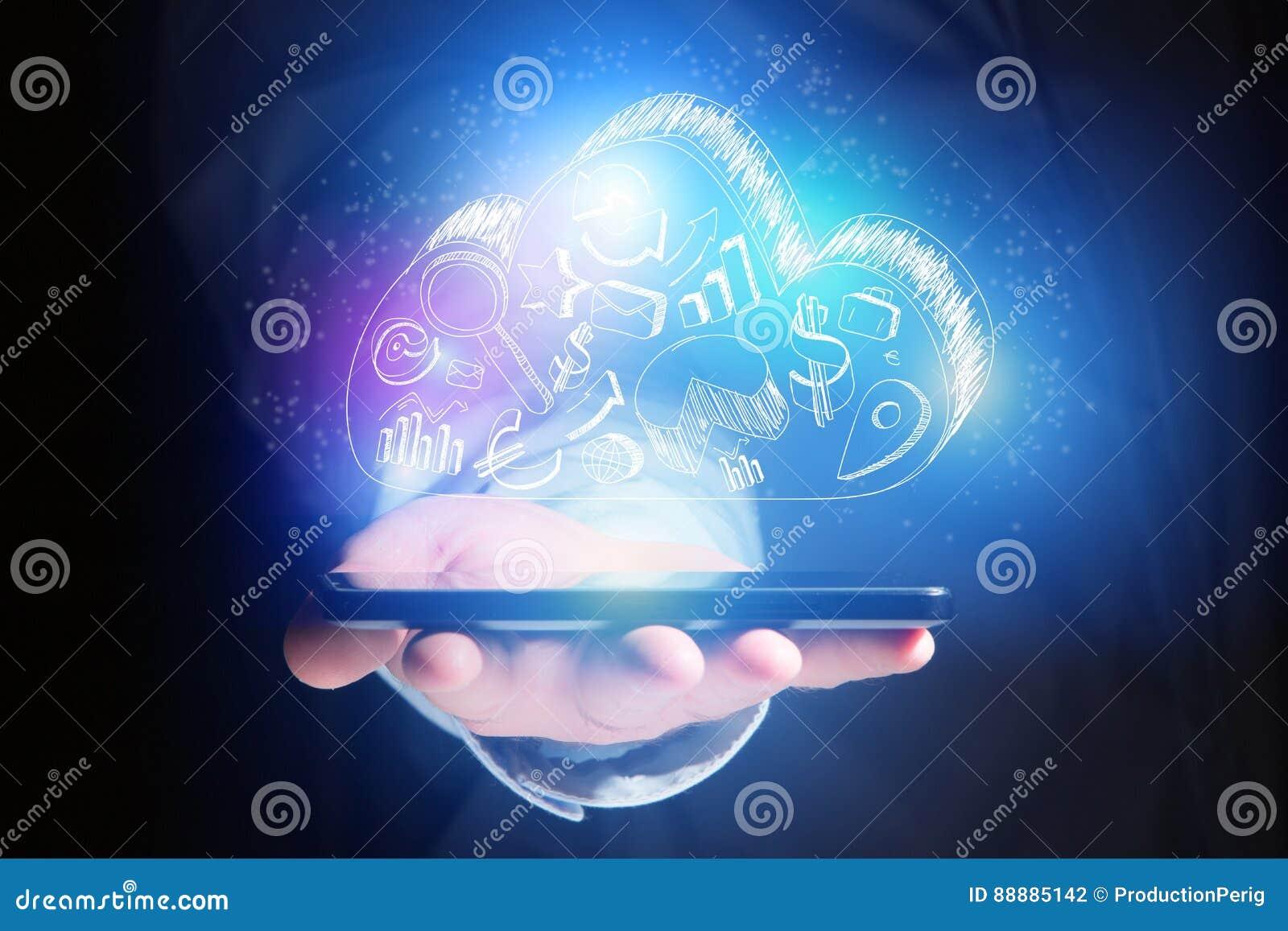 云彩飞行智能手机- technolo的存贮象的概念