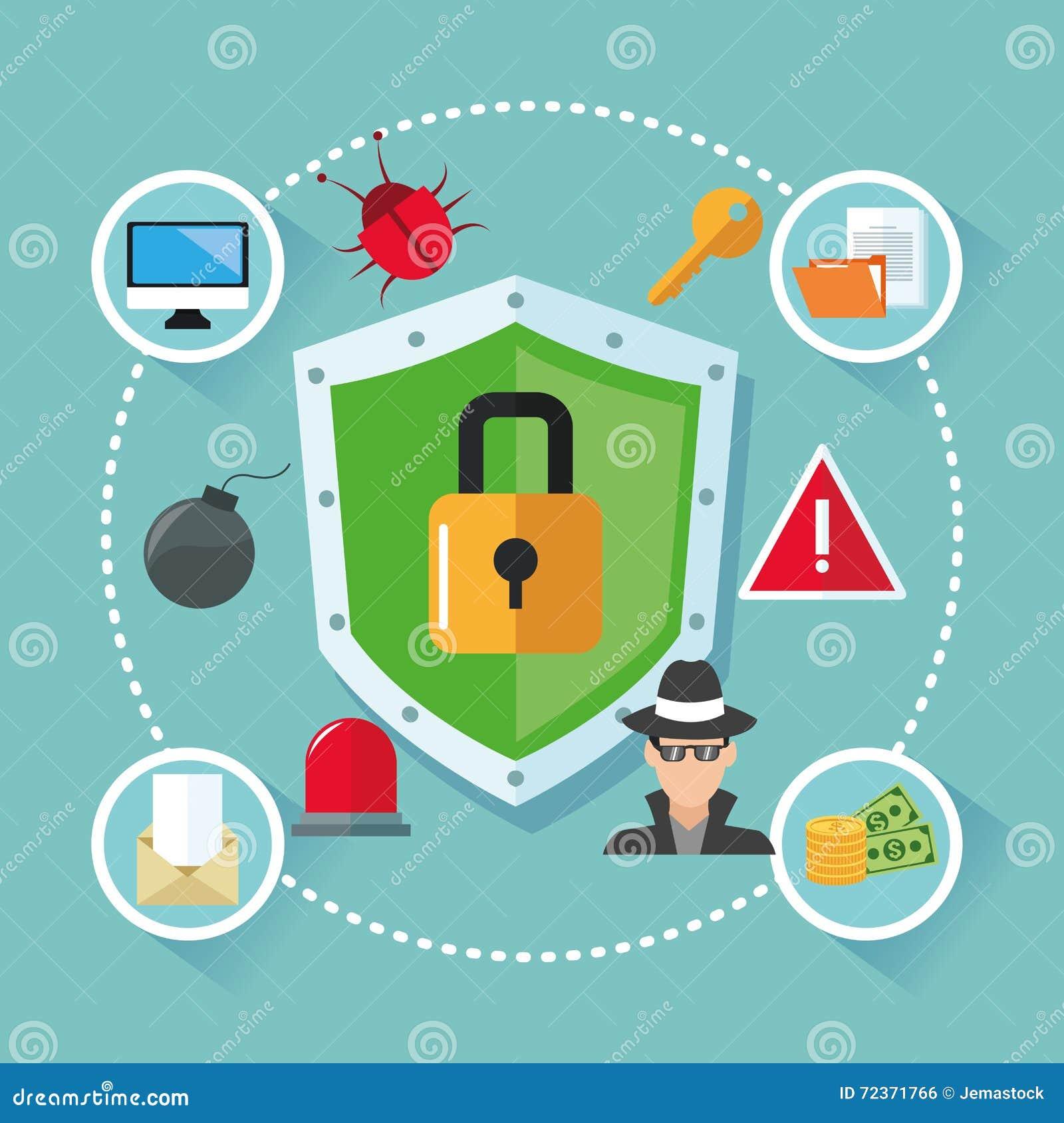 互联网安全设计 系统象 五颜六色的例证,传染媒介