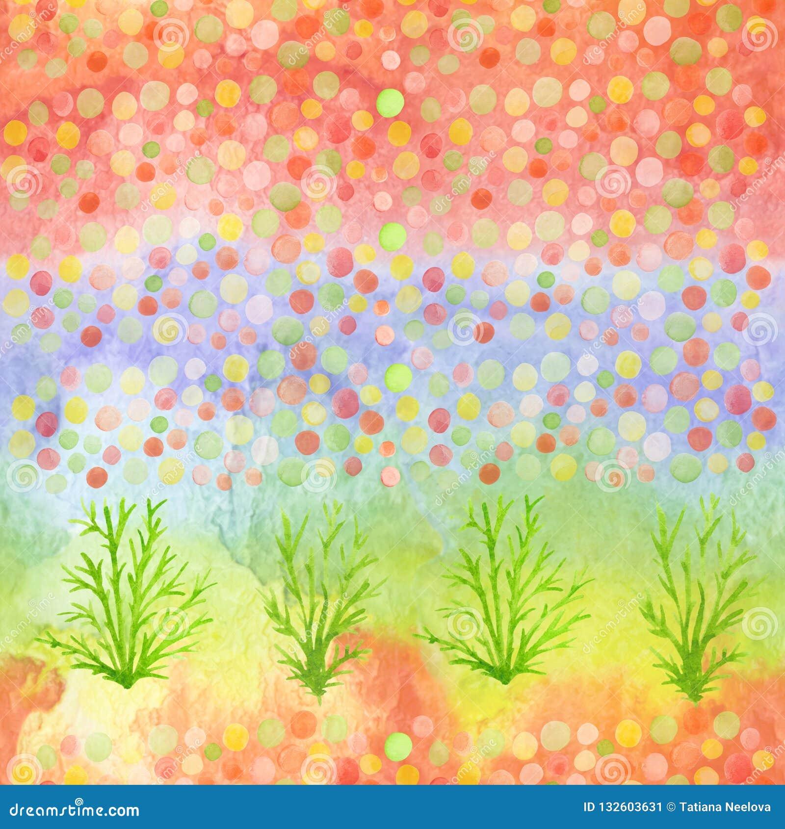 五彩纸屑和植物的明亮的现代无缝的手拉的样式 水彩弄脏了彩虹,孩子纺织品的,织品样式