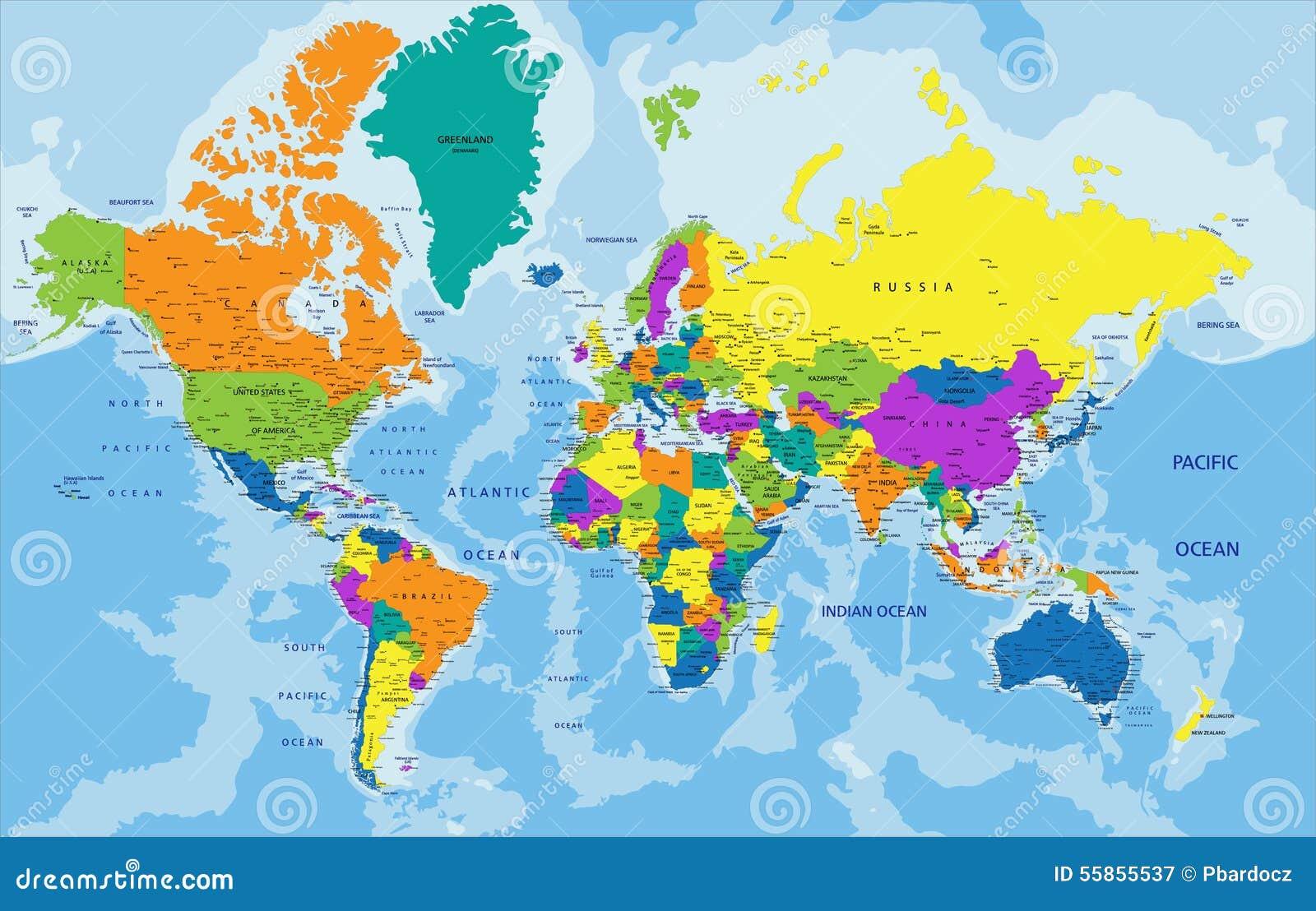 五颜六色的与标记的世界政治地图库存例证- 图片: 55855537