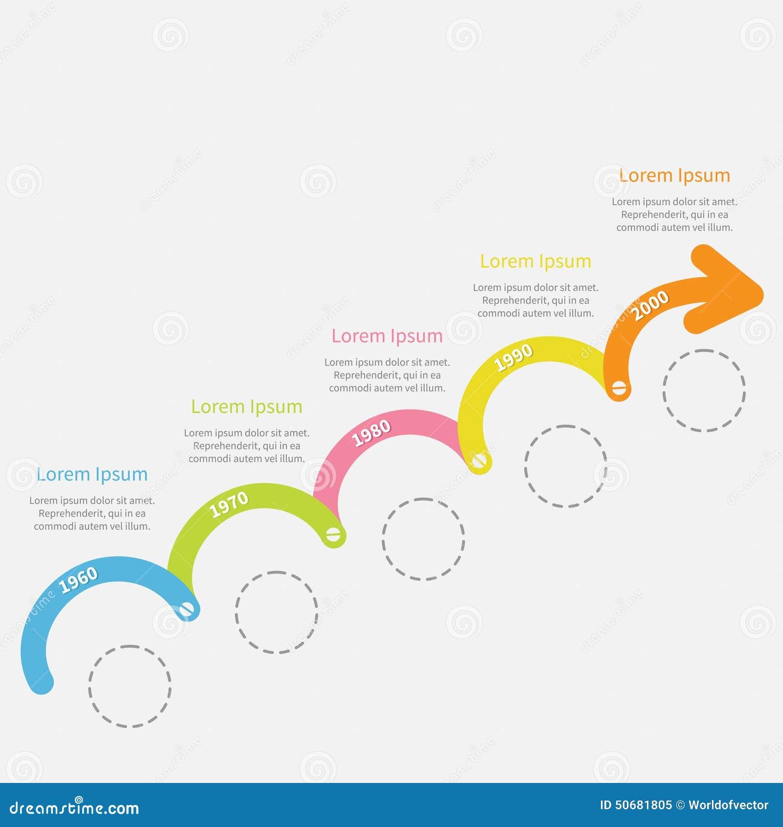 Download 五颜六色的与螺丝破折号线圈子和文本的时间安排Infographic向上箭头 模板 平的设计 向量例证 - 插画 包括有 计划, 部门: 50681805