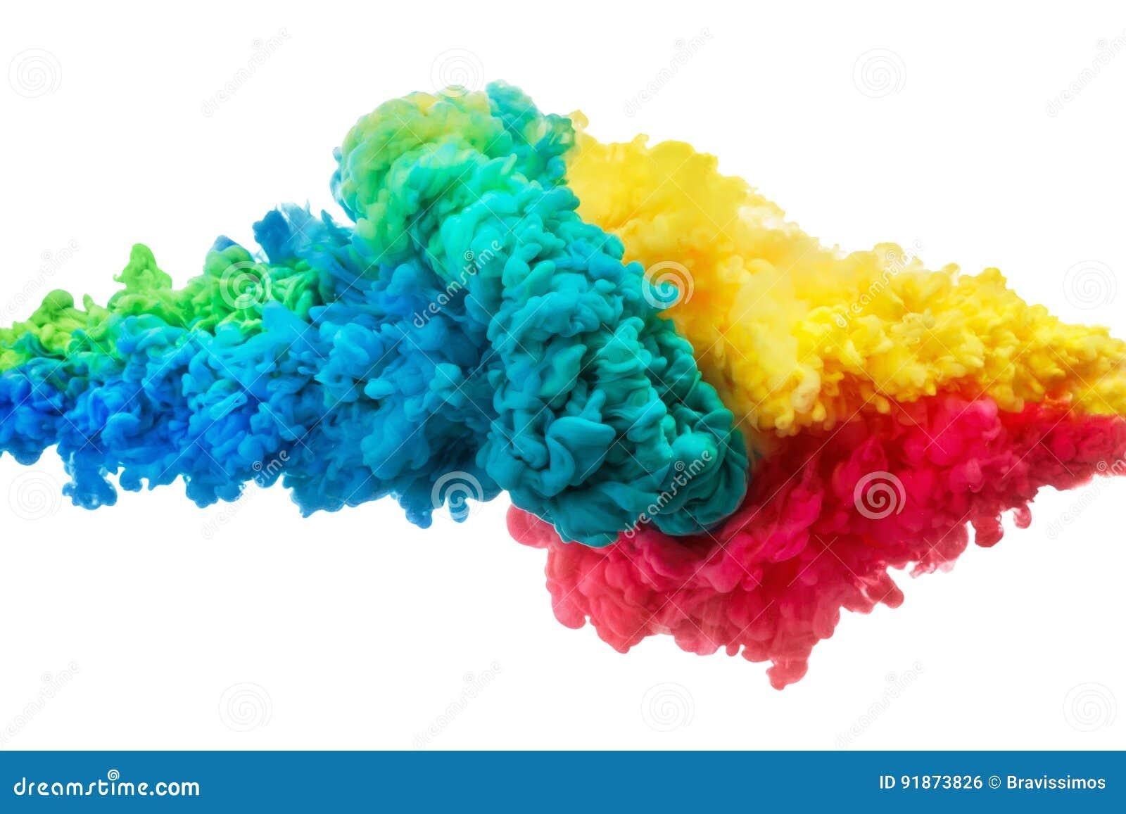五颜六色的丙烯酸酯的墨水在白色隔绝的水中 抽象背景 抽象被构造的背景颜色数字式展开分数维例证