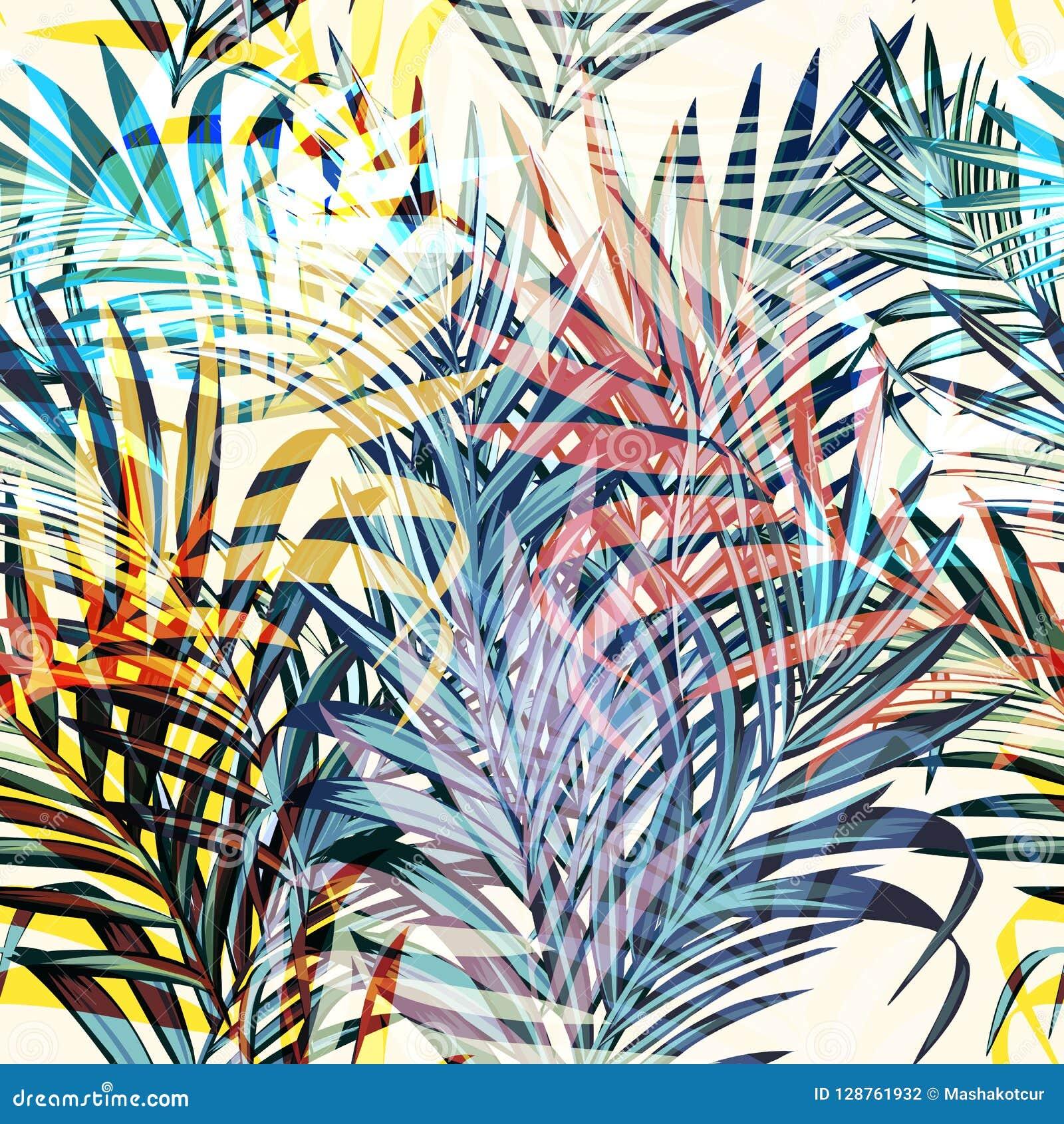 五颜六色的传染媒介热带棕榈叶,假期样式 理想为